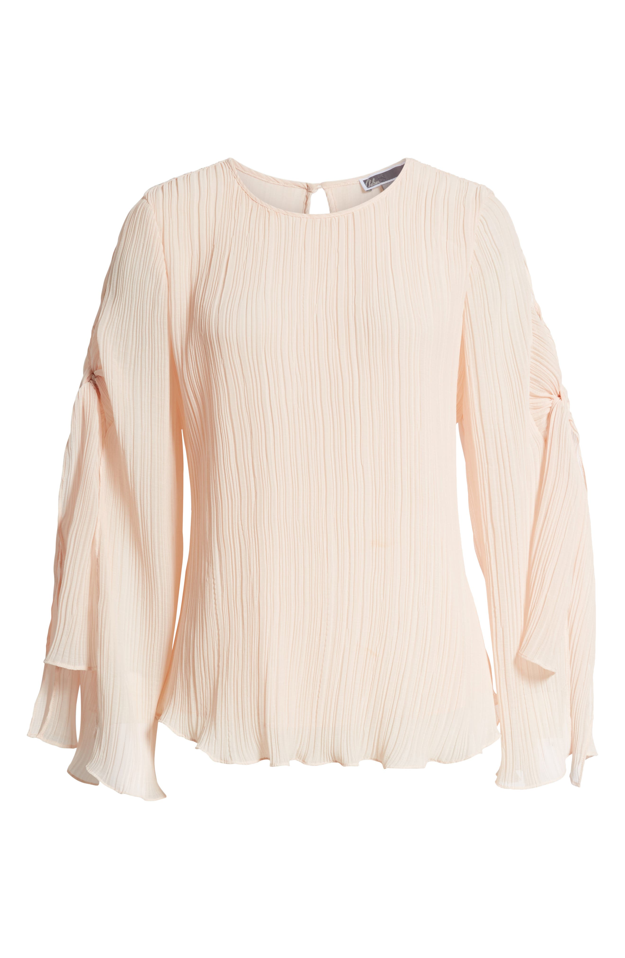 Pleated Tie Sleeve Top,                             Alternate thumbnail 7, color,                             Pink Blush