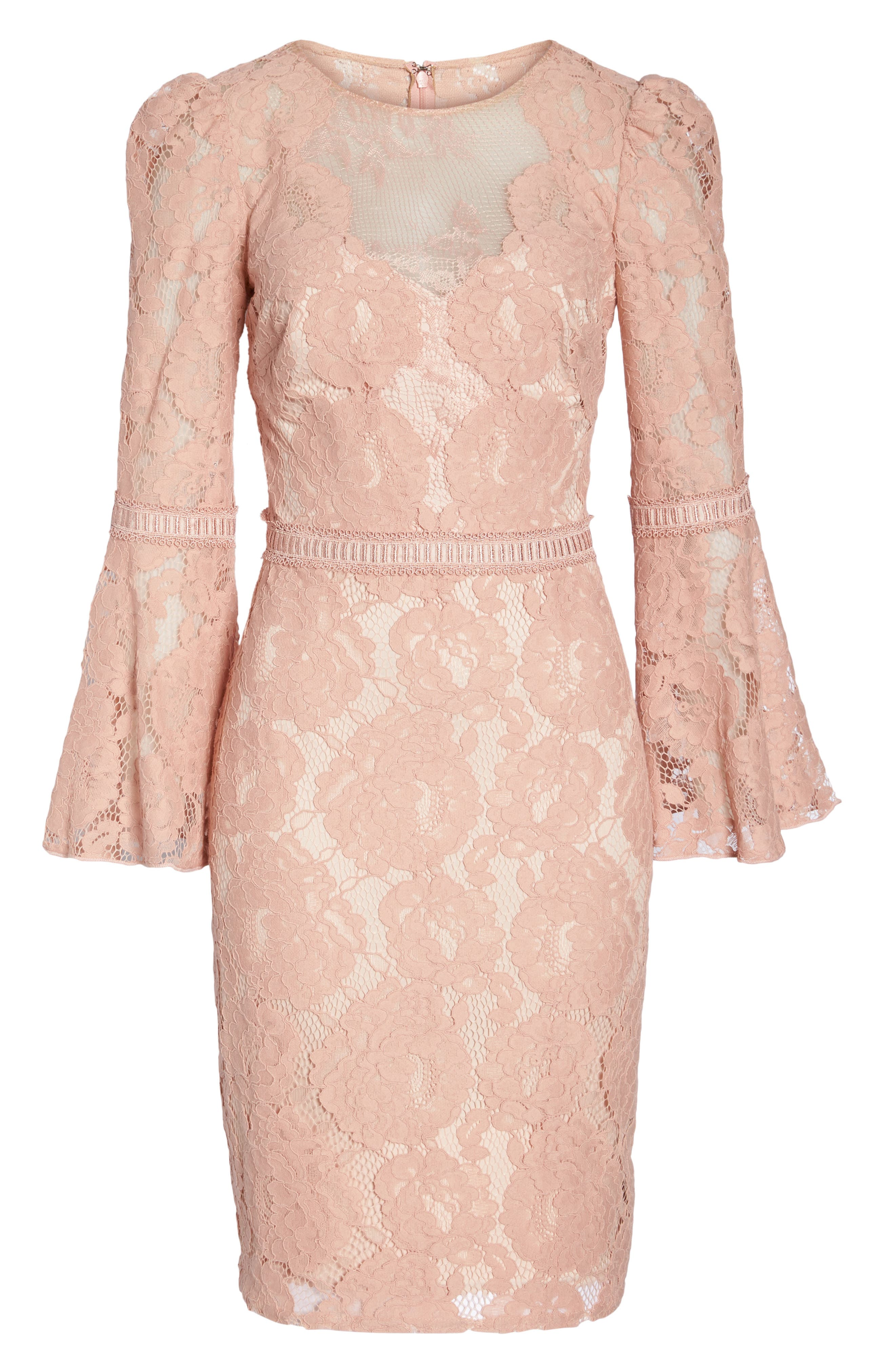 Lace Bell Sleeve Dress,                             Alternate thumbnail 6, color,                             Petal Bloom