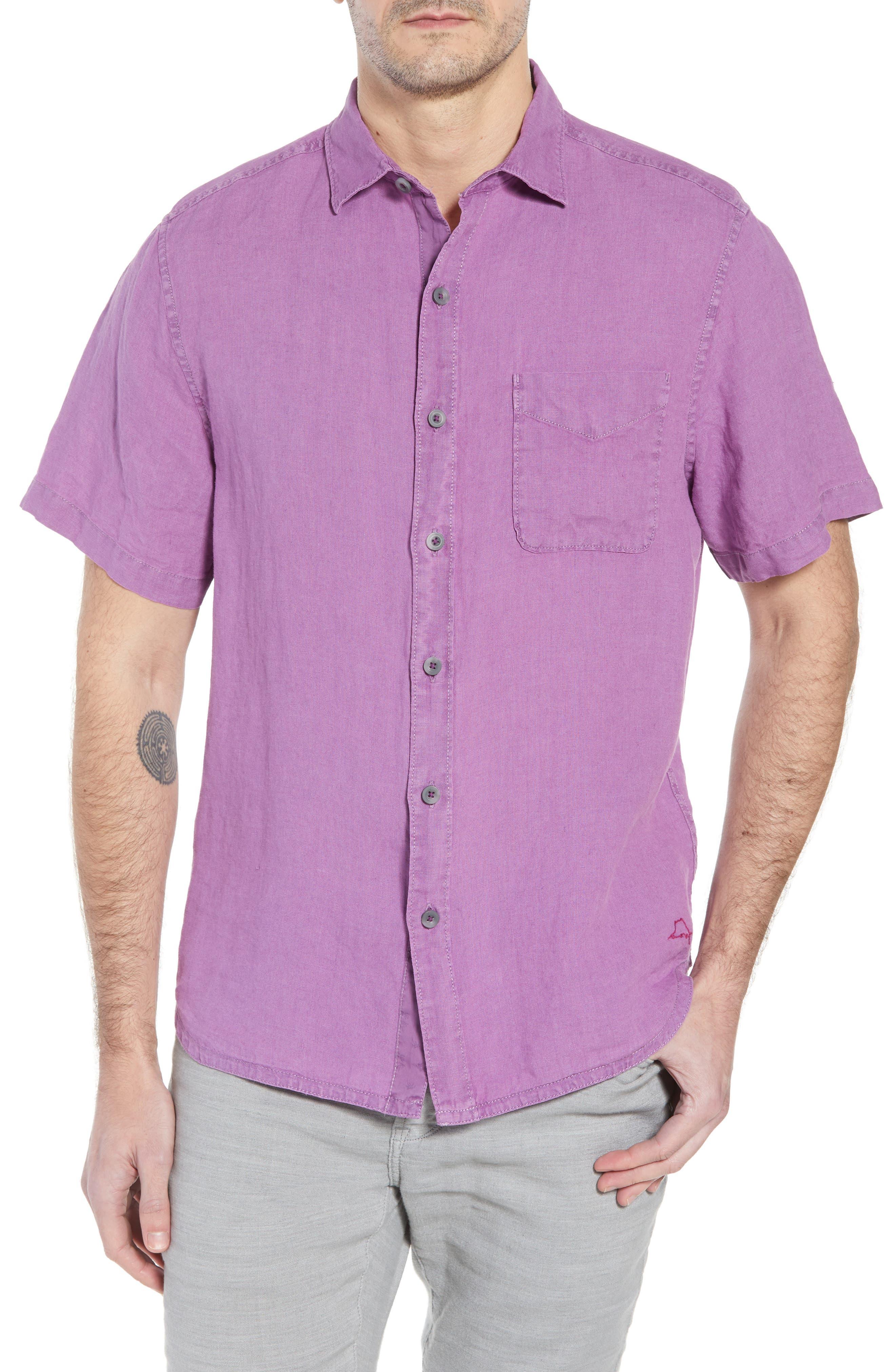 Seaspray Breezer Regular Fit Linen Sport Shirt,                         Main,                         color, Sparkling Grape
