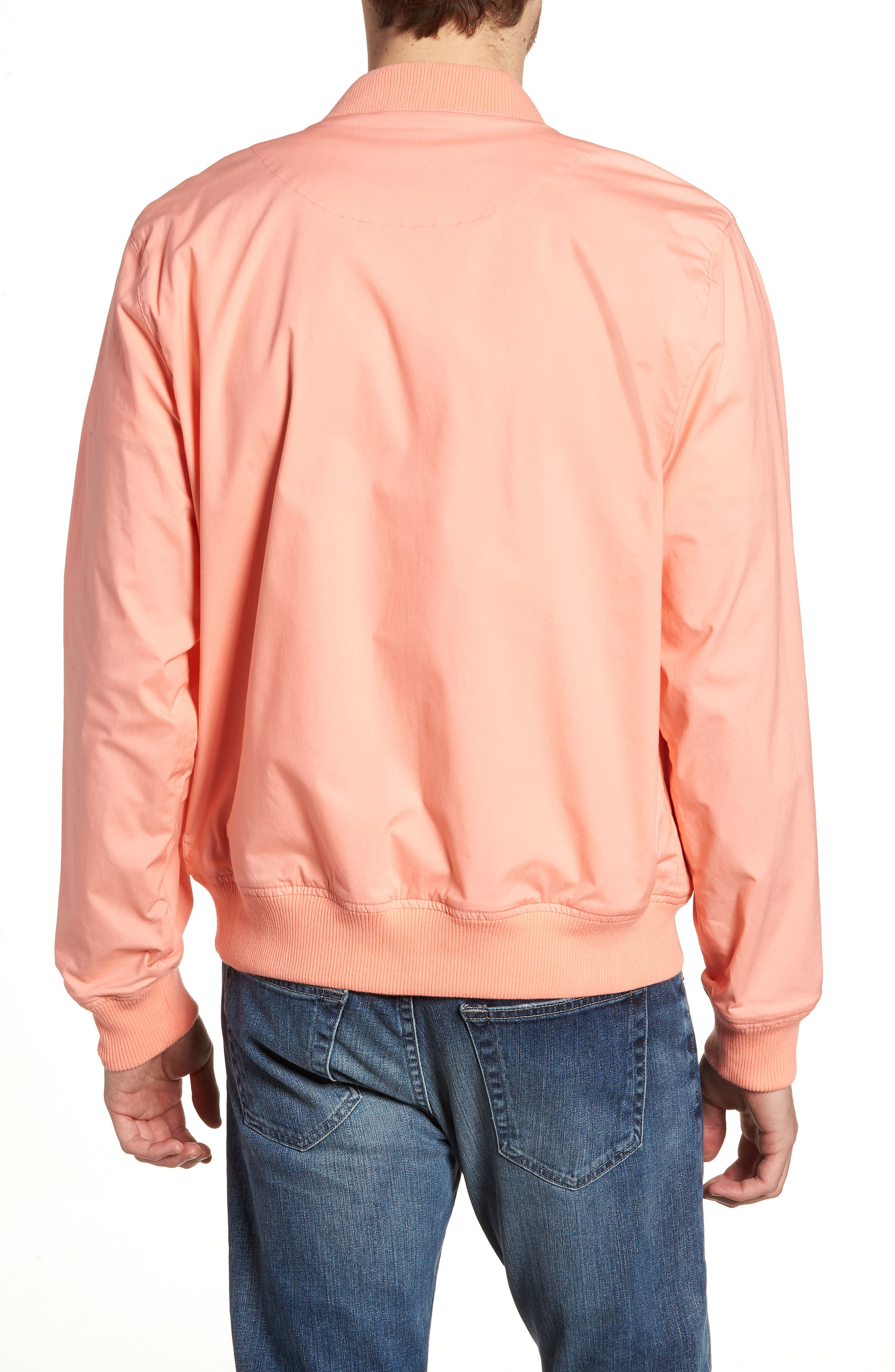 Stretch Bomber Jacket,                             Alternate thumbnail 2, color,                             Solid - Peach