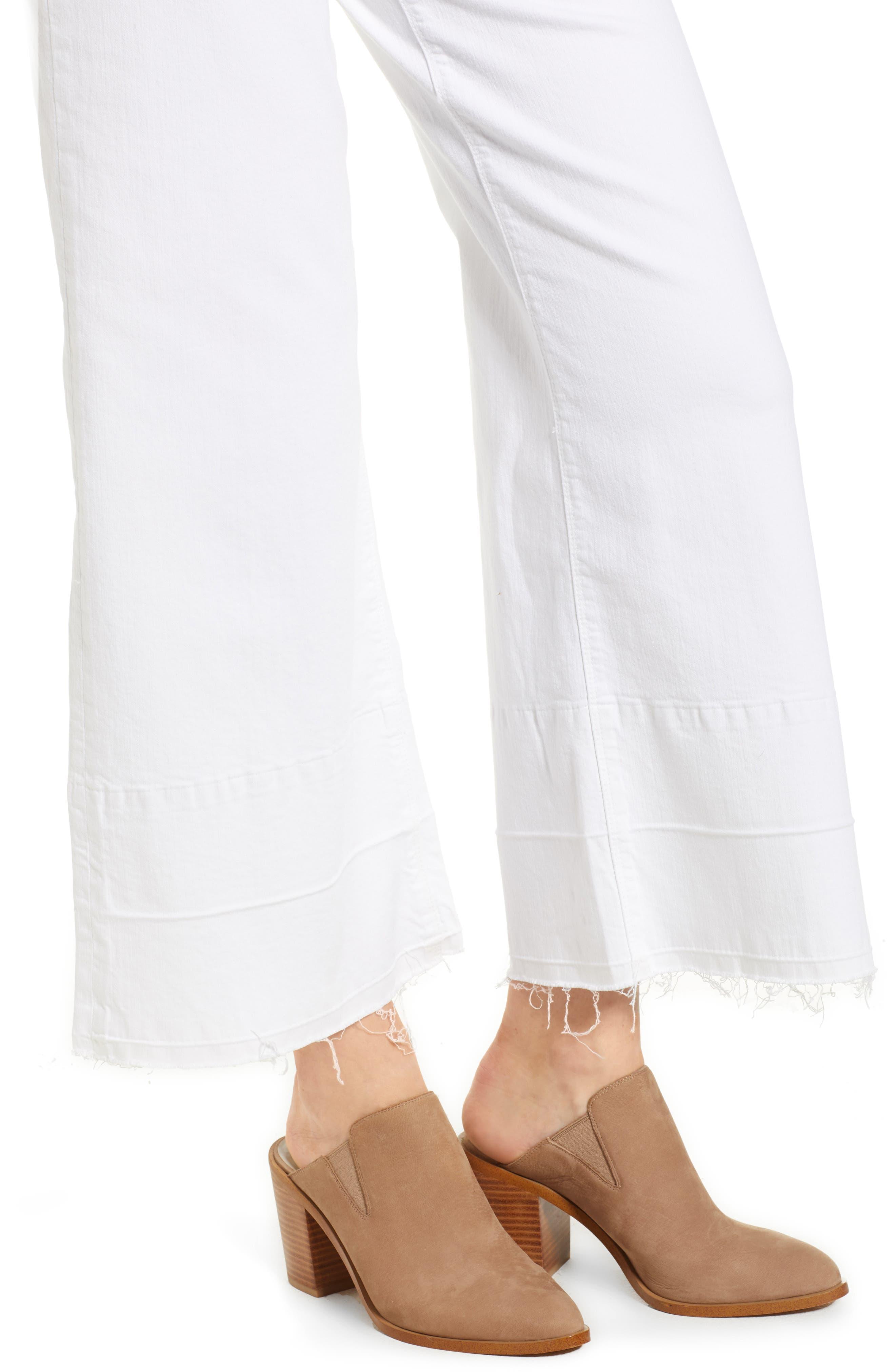 Released Hem Wide Leg Jeans,                             Alternate thumbnail 4, color,                             Ultra White