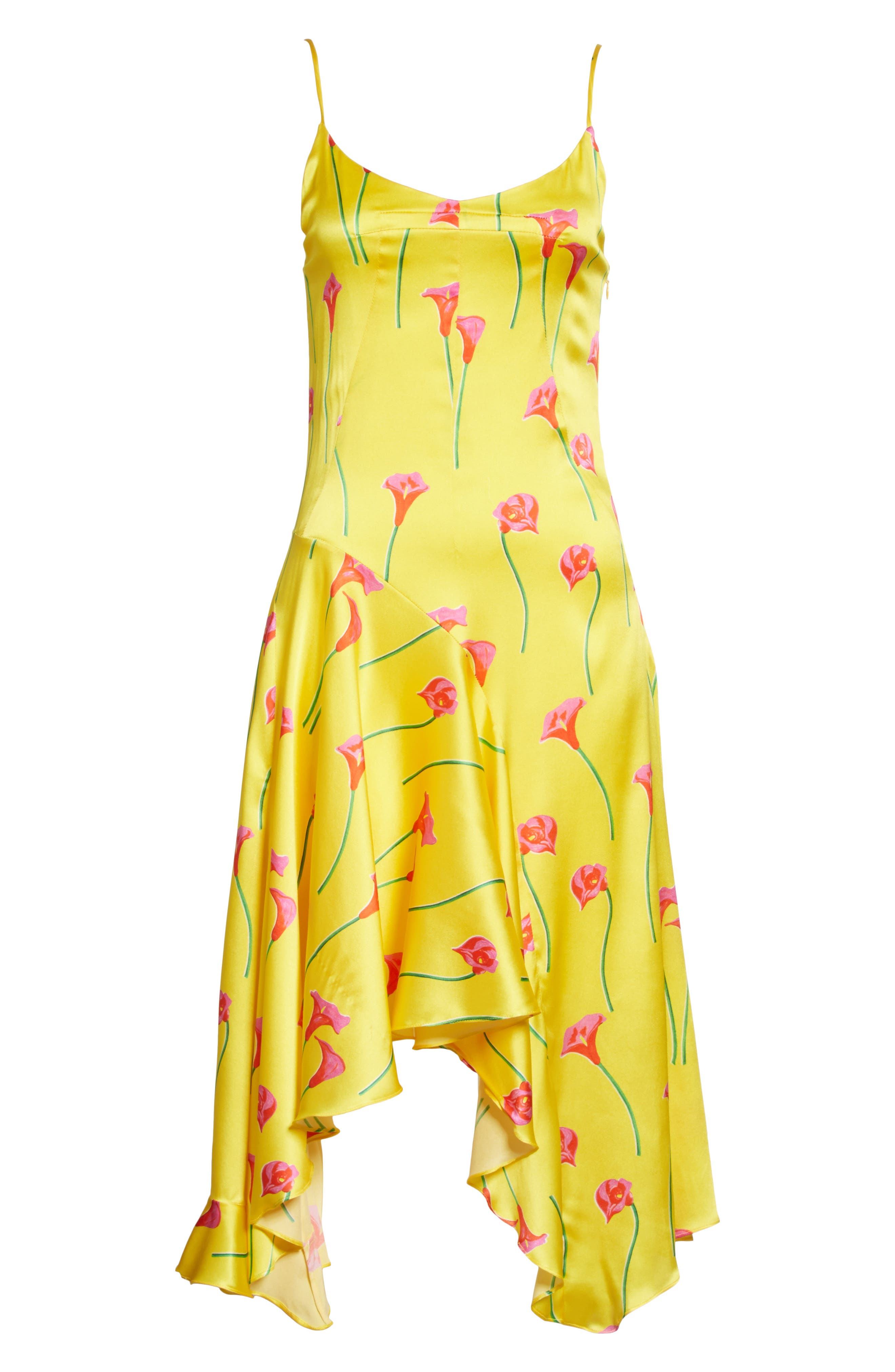 Marie Stretch Silk Slipdress,                             Alternate thumbnail 6, color,                             Yellow