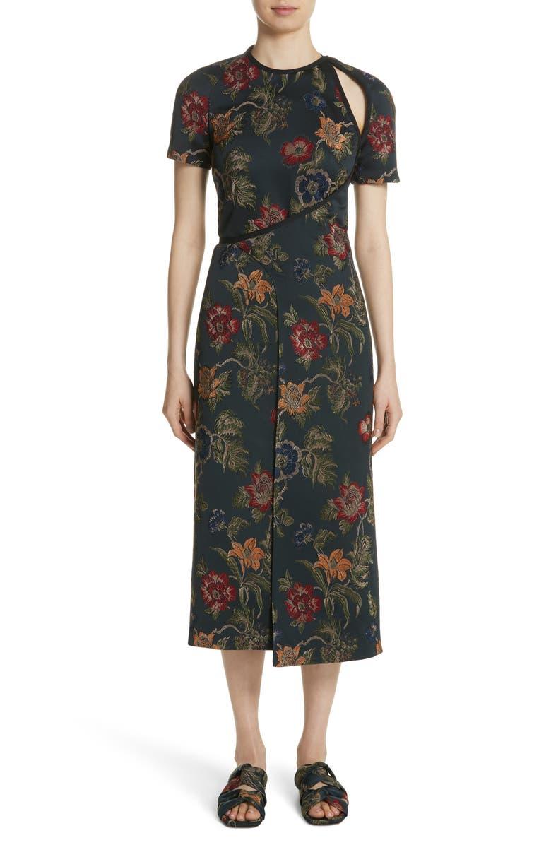 Floral Satin Jacquard Dress