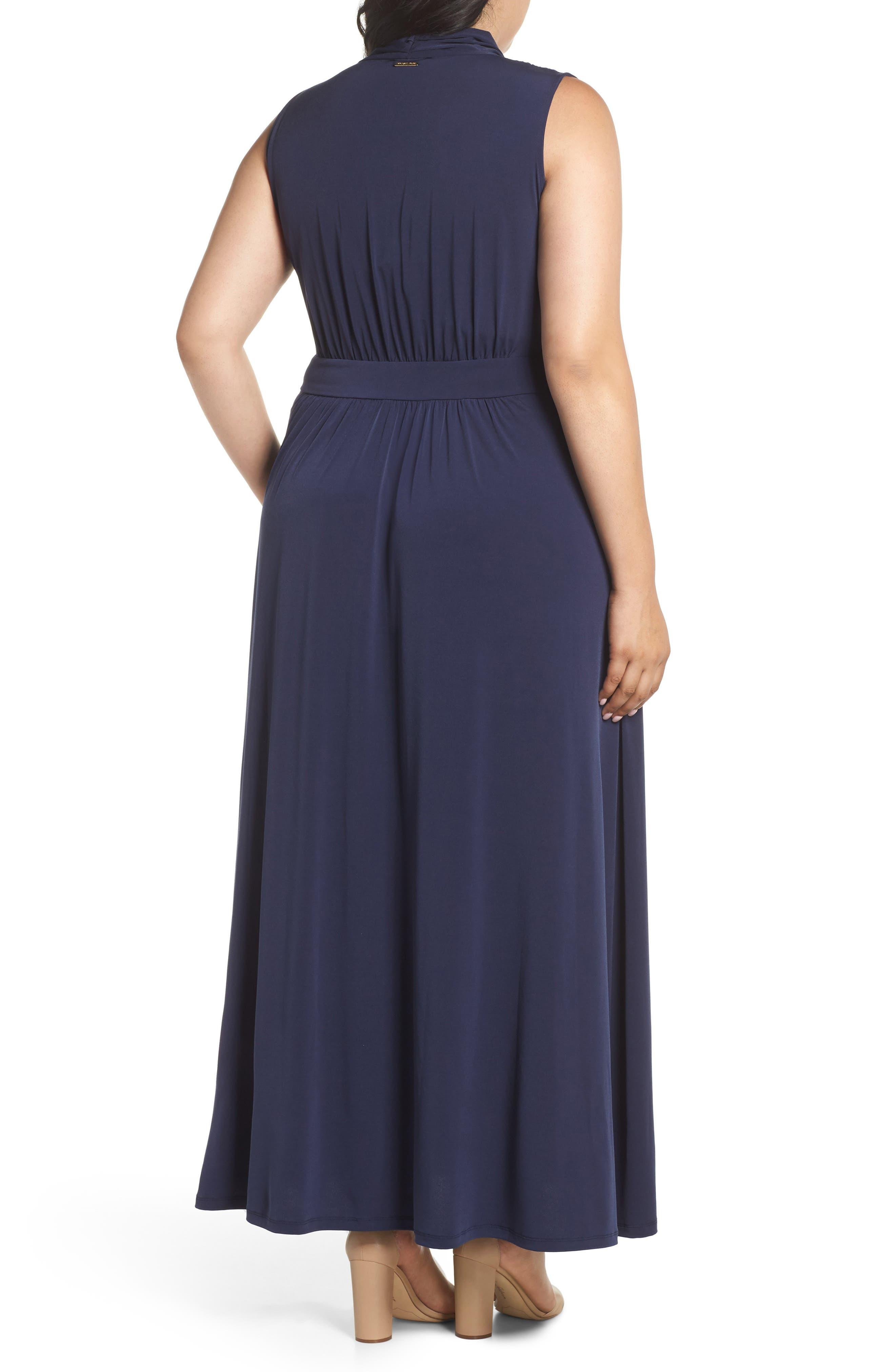 Slit Faux Wrap Maxi Dress,                             Alternate thumbnail 2, color,                             True Navy
