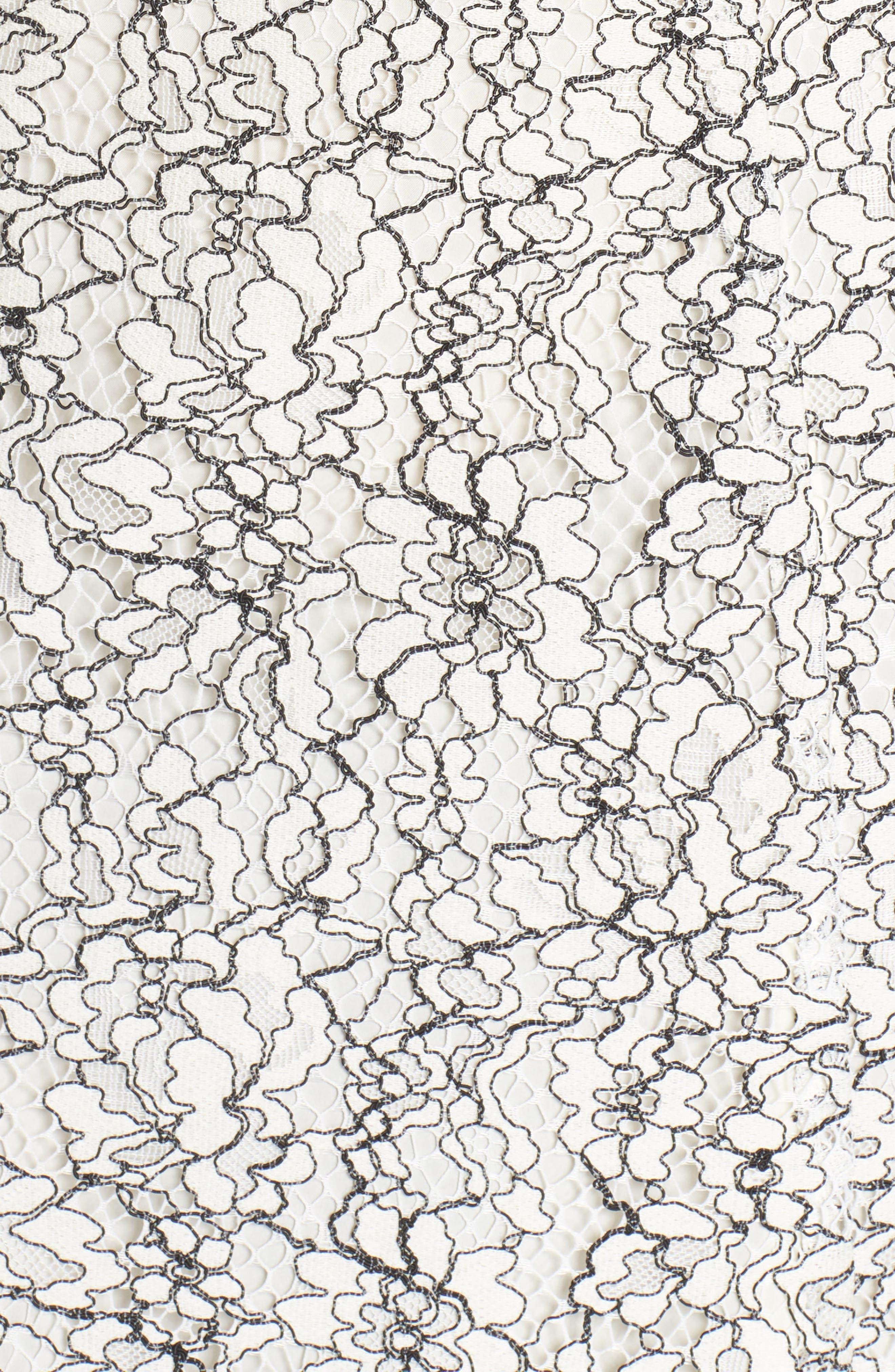 Two-Tone Lace A-Line Dress,                             Alternate thumbnail 5, color,                             Ivory/ Black