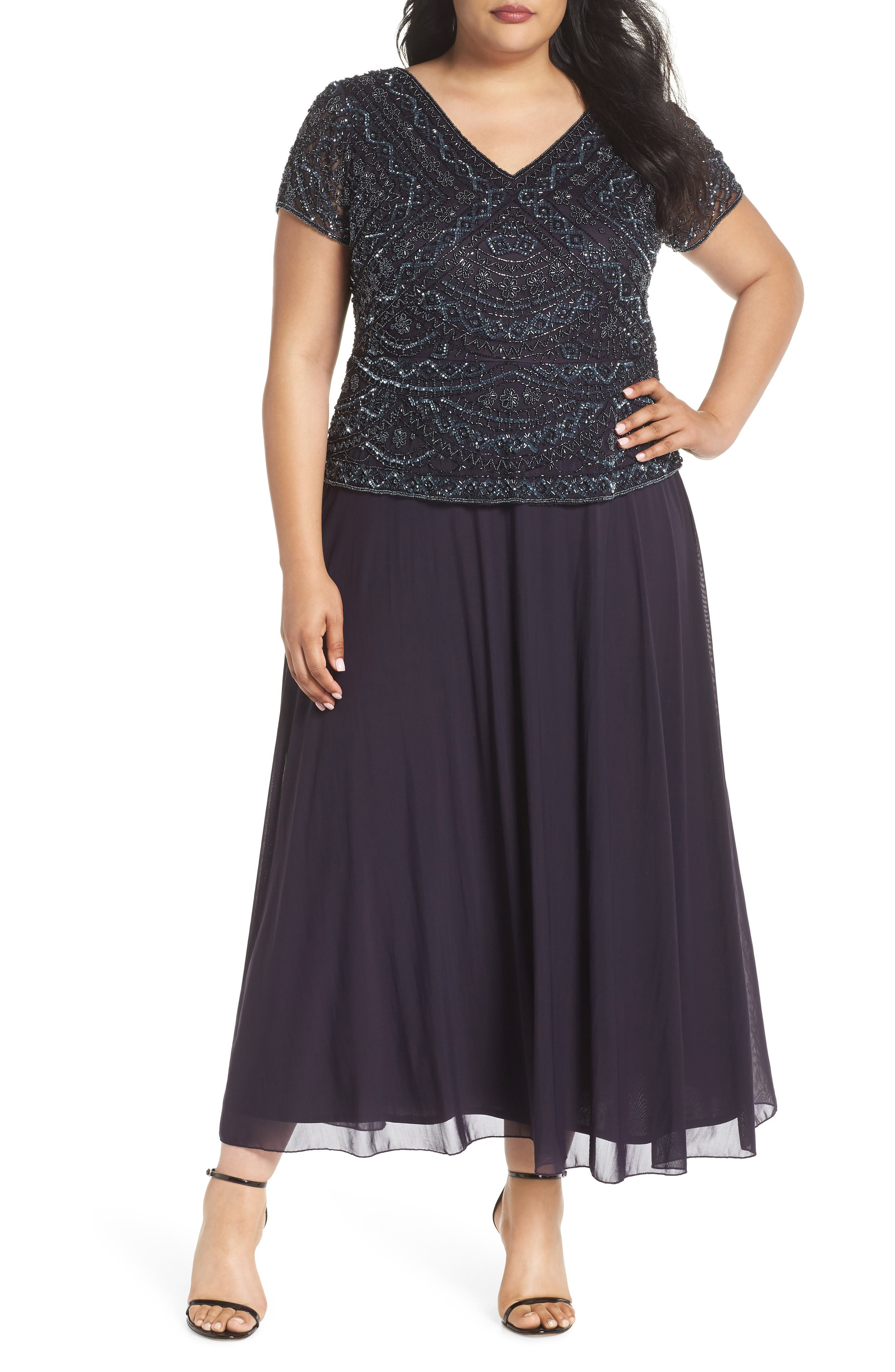 Beaded Mock Two-Piece Gown,                             Main thumbnail 1, color,                             Eggplant