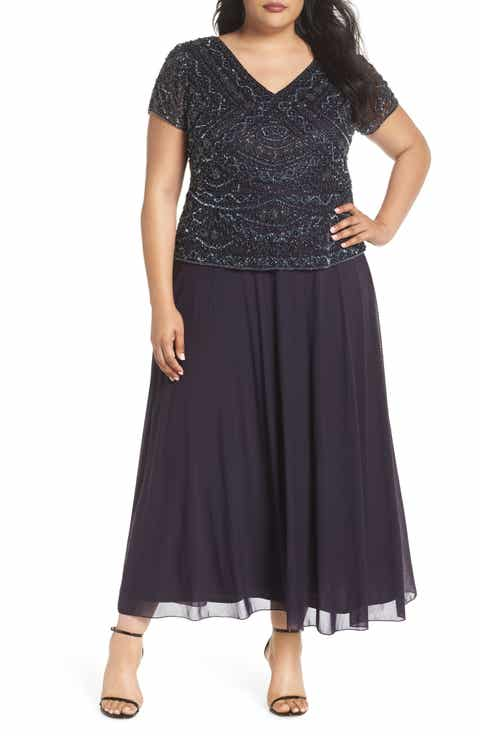 Pisarro Nights Beaded Mock Two-Piece Gown (Plus Size)