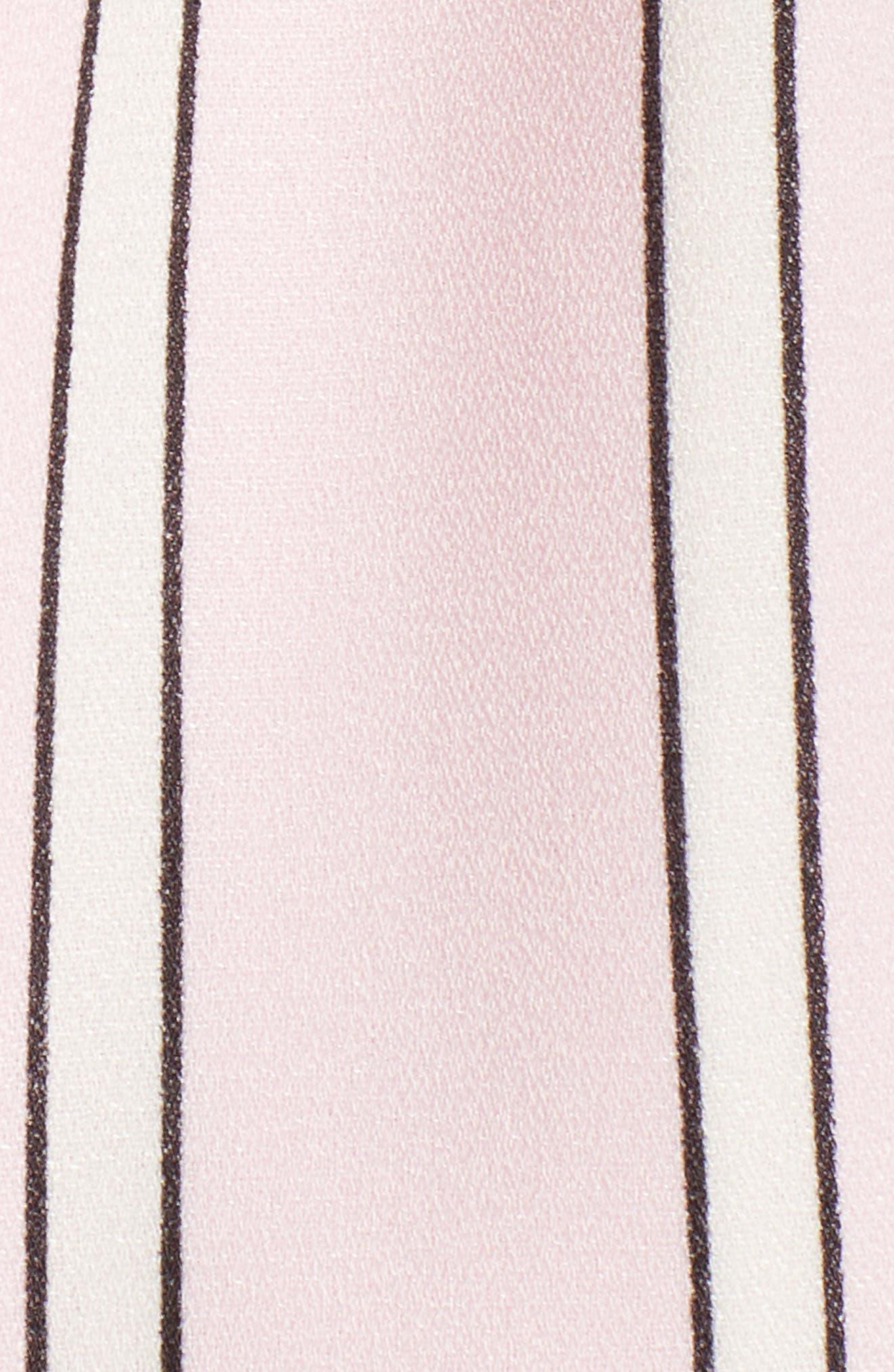 Tie Front Cutout Romper,                             Alternate thumbnail 6, color,                             Pink Stripe