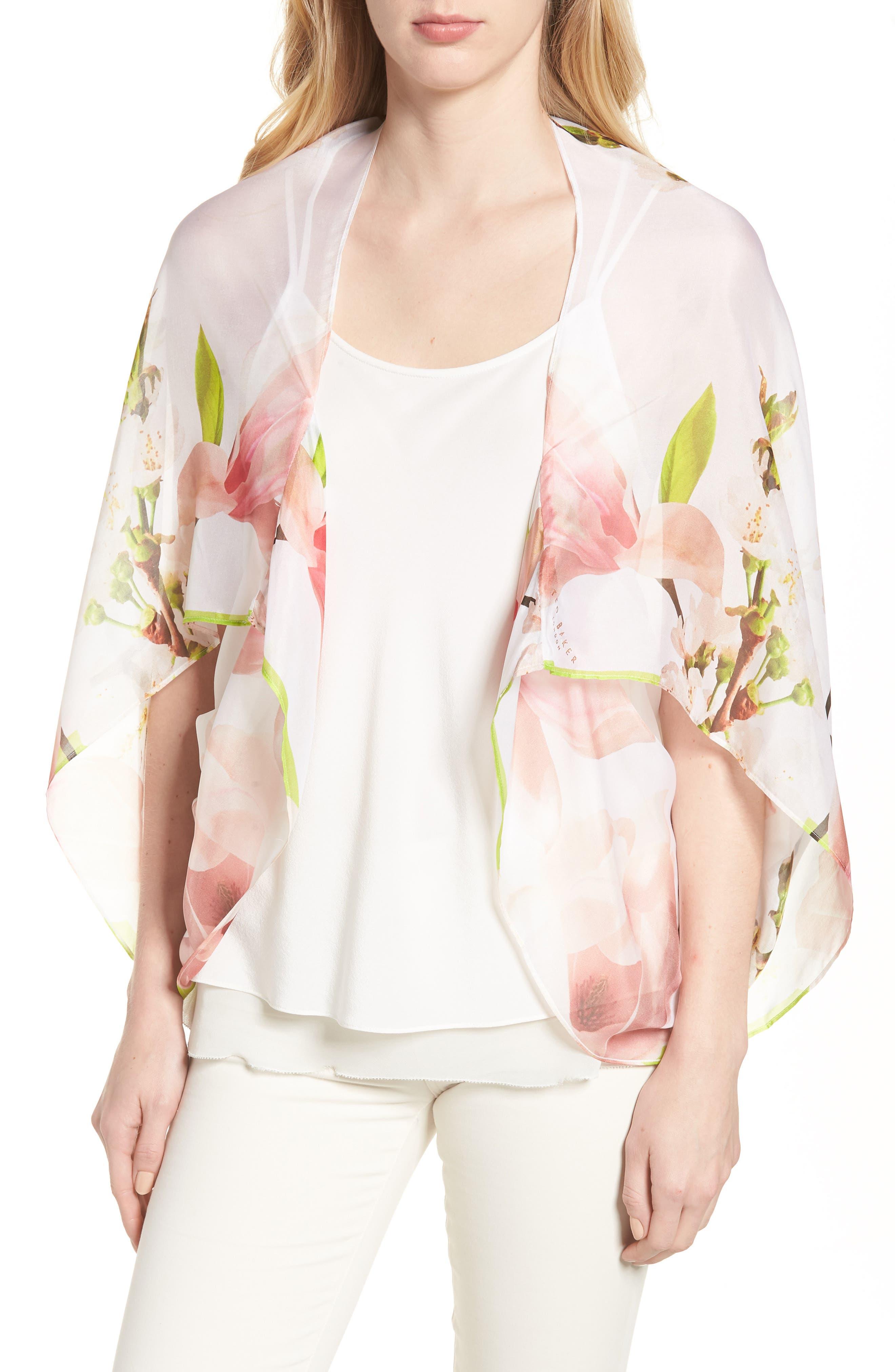 Dottie Silk Cape Scarf,                         Main,                         color, White