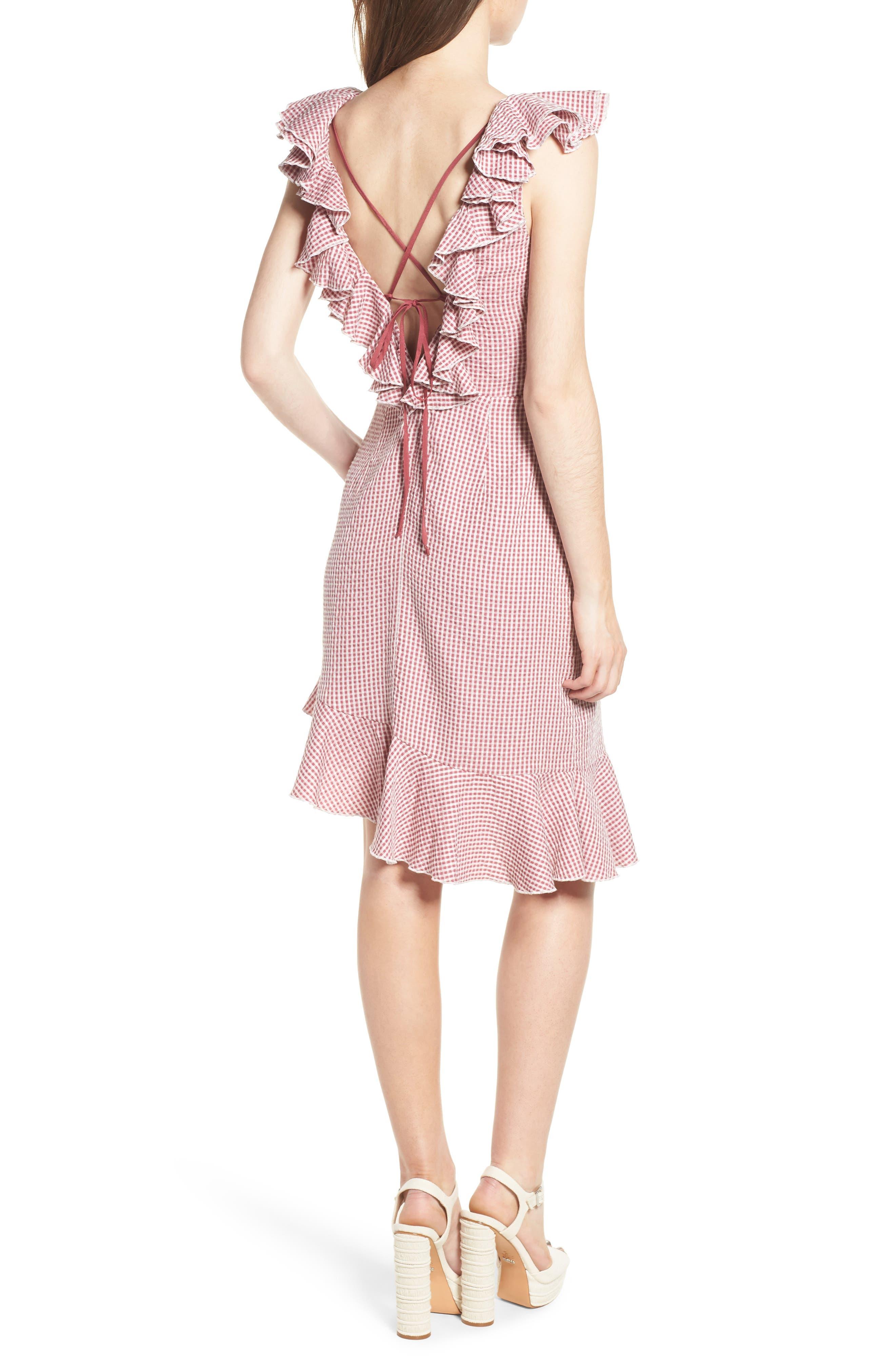 Asymmetrical Ruffle Dress,                             Alternate thumbnail 2, color,                             Red Gingham