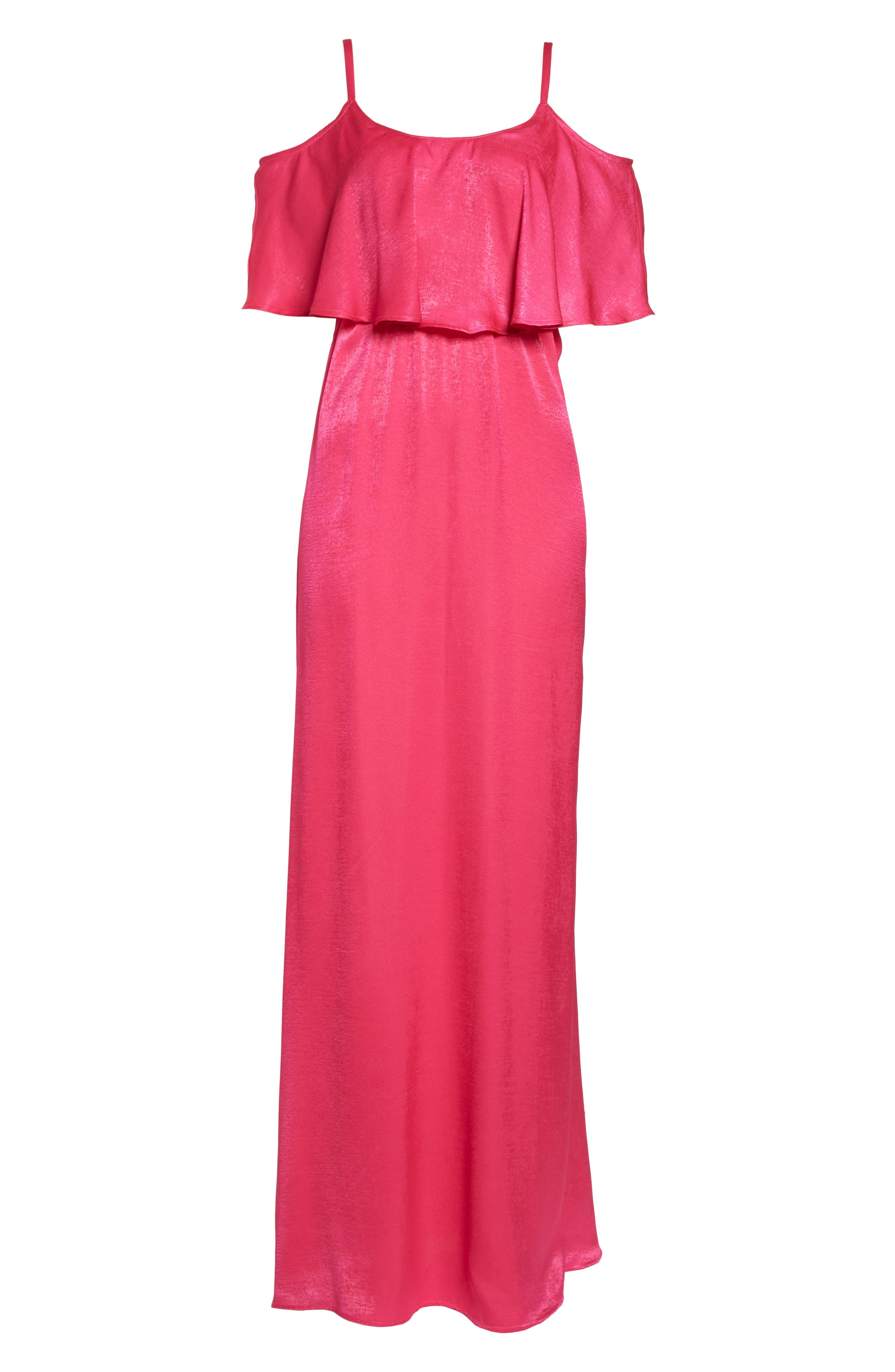 Caitlin Cold Shoulder Chiffon Gown,                             Alternate thumbnail 6, color,                             Flirty Fuchsia Sheen