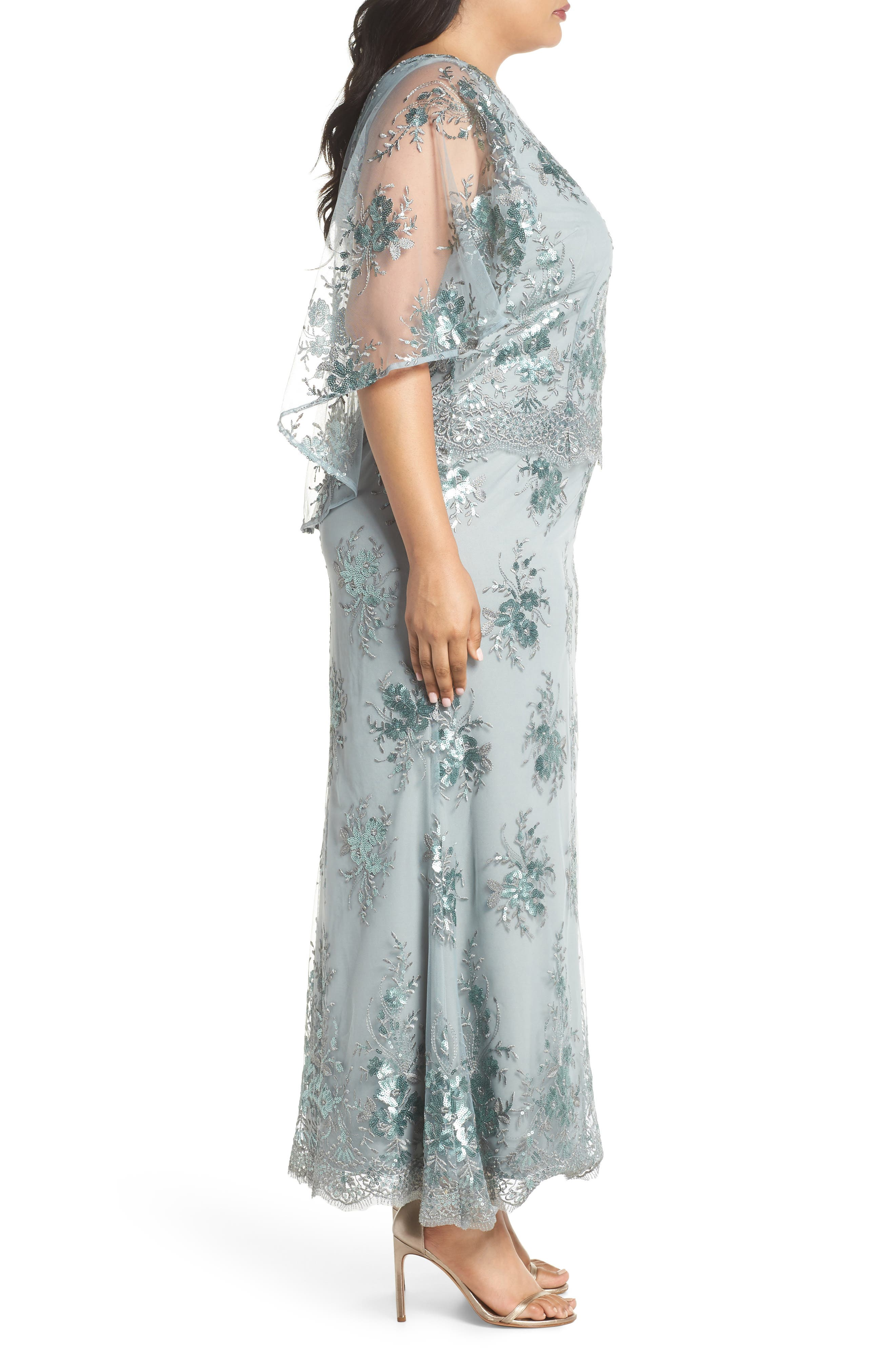 Embellished Capelet Mesh Gown,                             Alternate thumbnail 3, color,                             Seafoam
