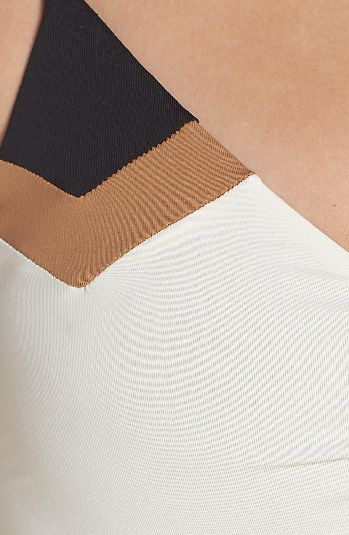 'Haley' Reversible Bikini Top,                             Alternate thumbnail 6, color,                             Cream/ Black/ Camel