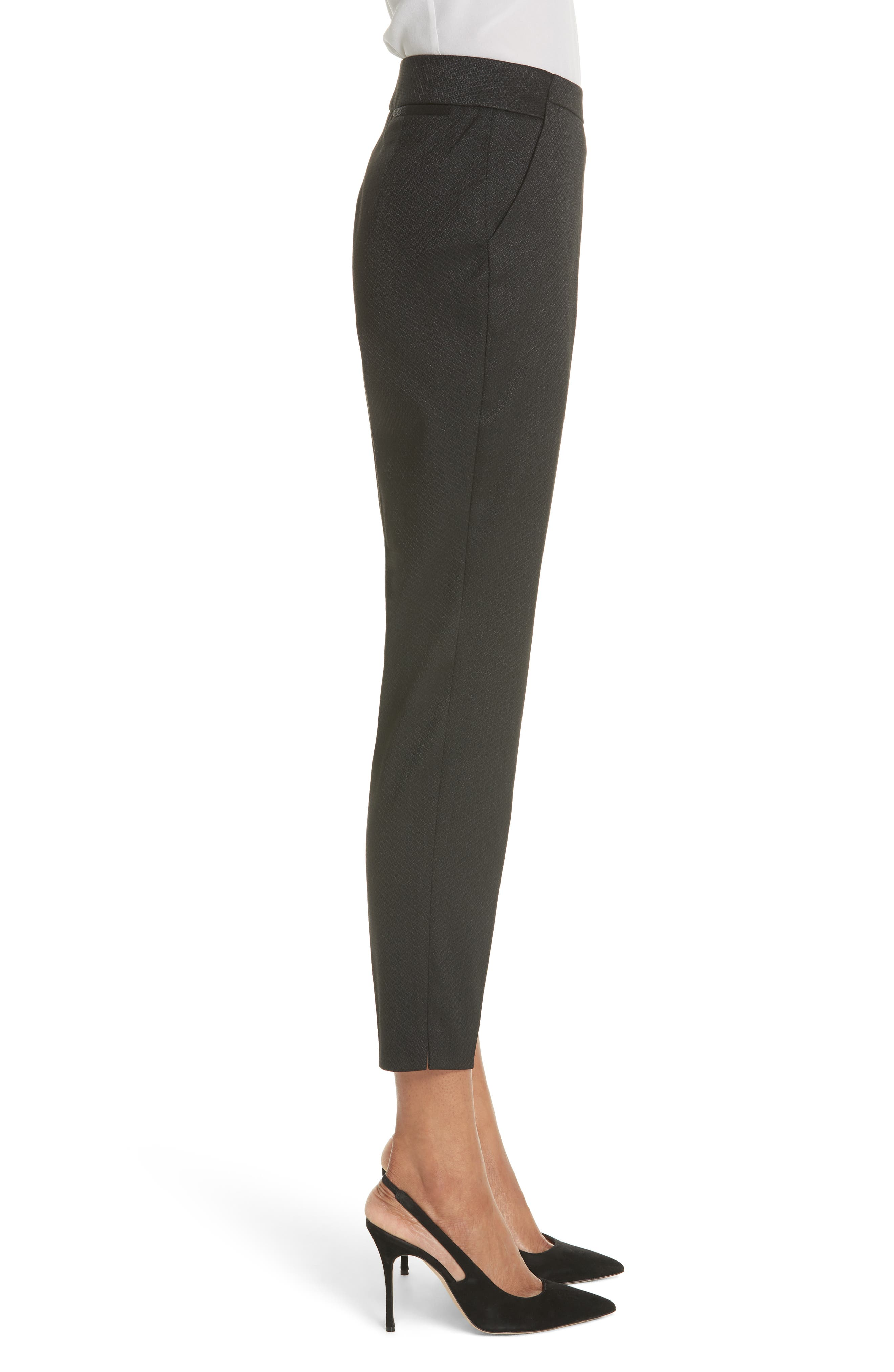 Textured Tailored Crop Pants,                             Alternate thumbnail 3, color,                             Black