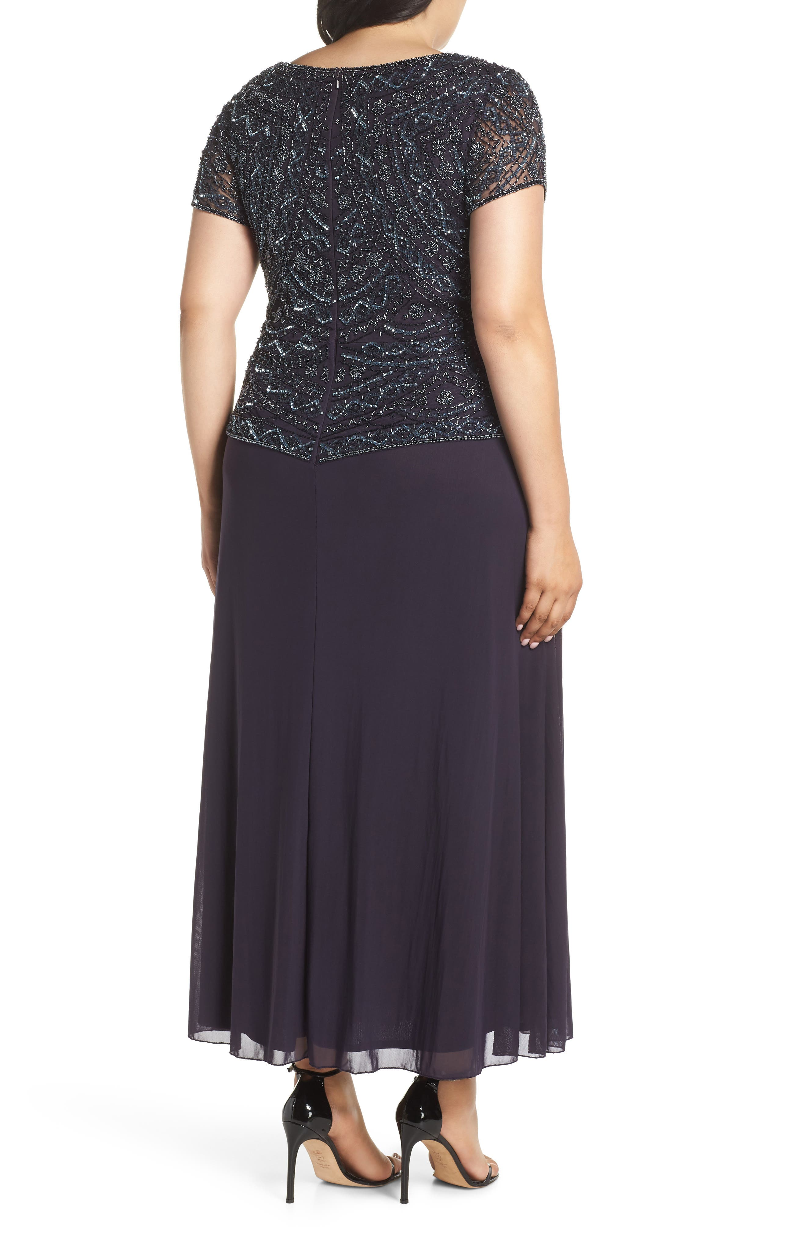 Beaded Mock Two-Piece Gown,                             Alternate thumbnail 2, color,                             Eggplant