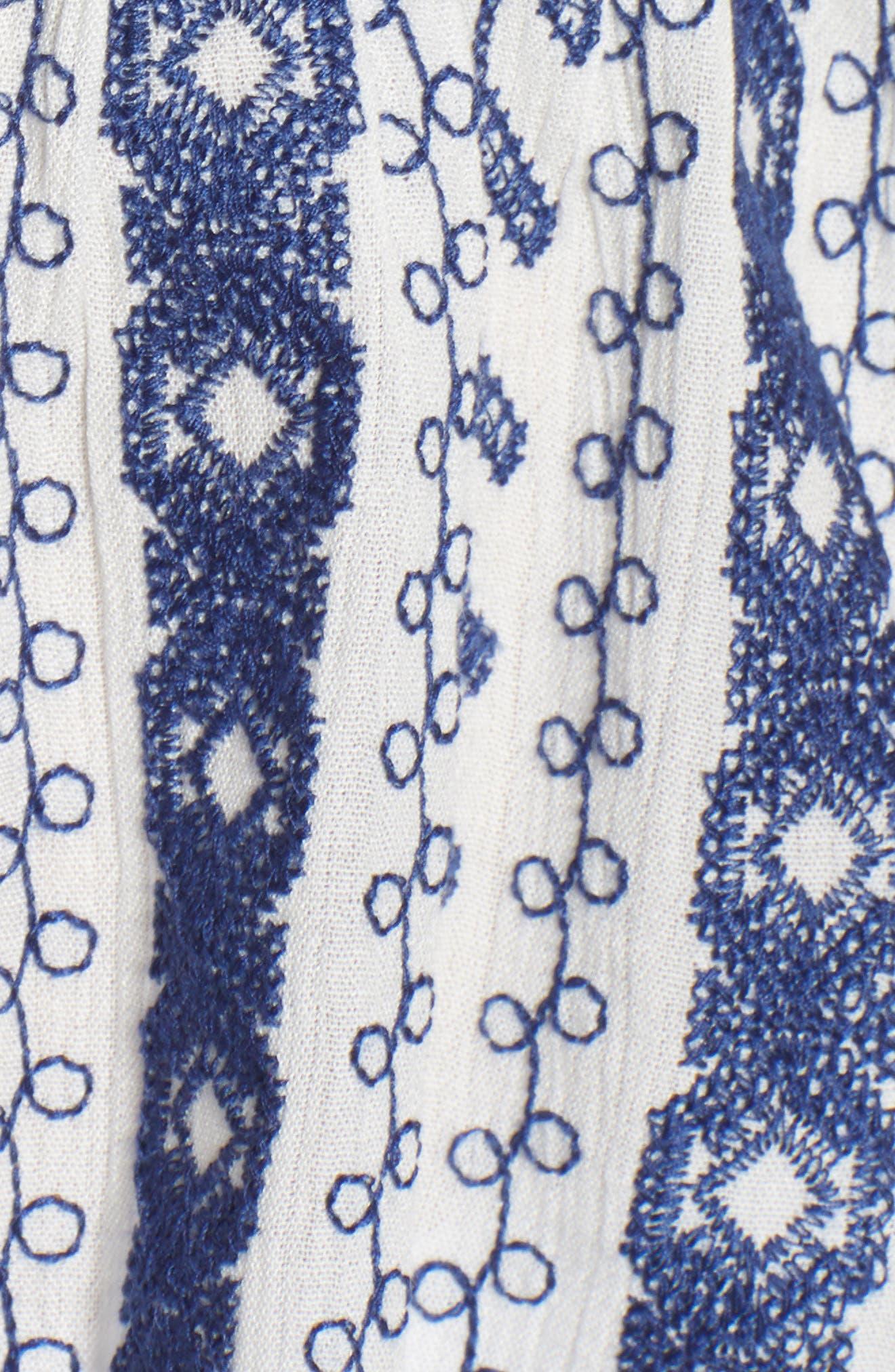 Blinda Embroidered Gauze Peplum Top,                             Alternate thumbnail 6, color,                             Ivory