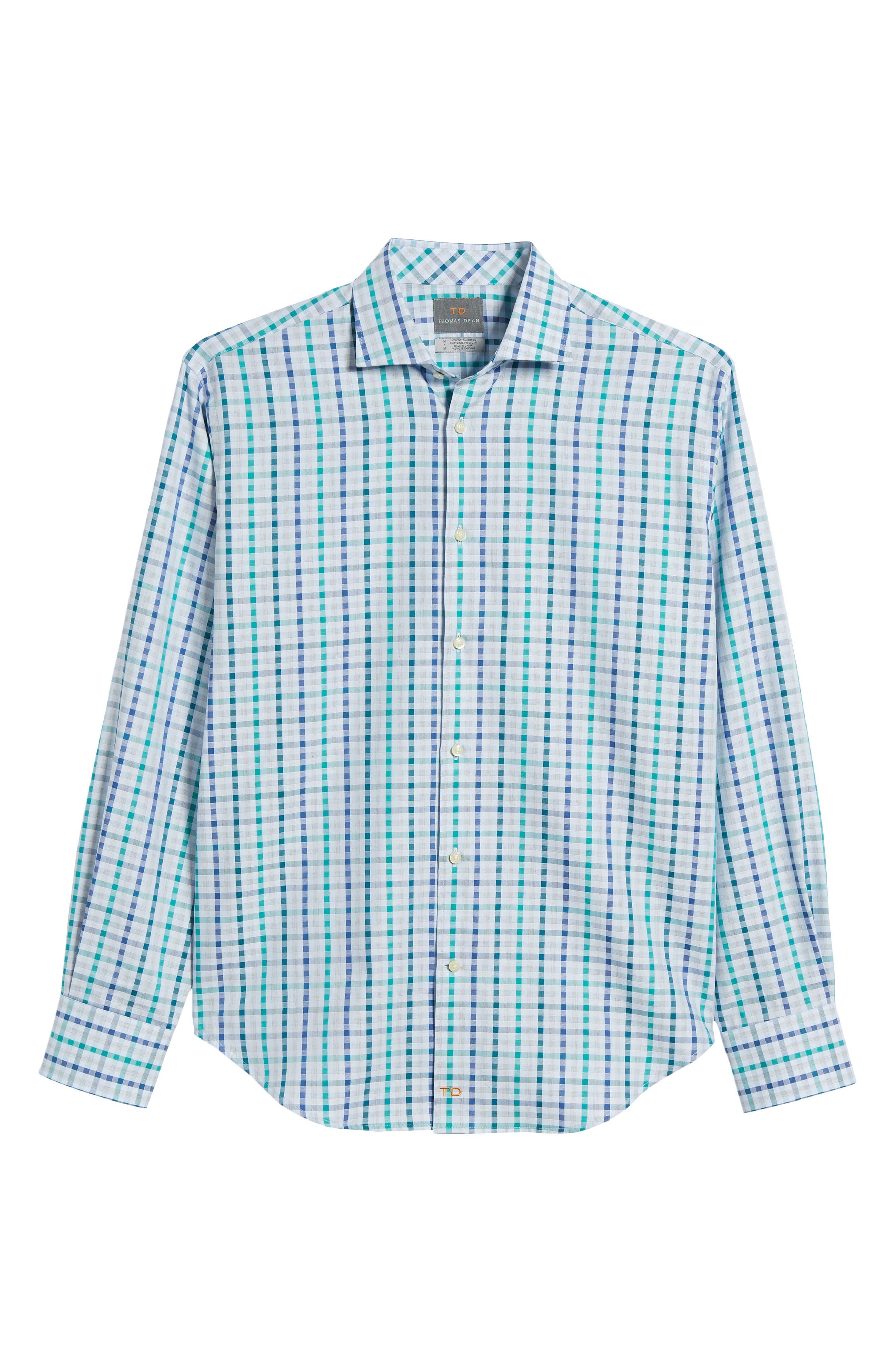 Regular Fit Check Sport Shirt,                             Alternate thumbnail 6, color,                             Green