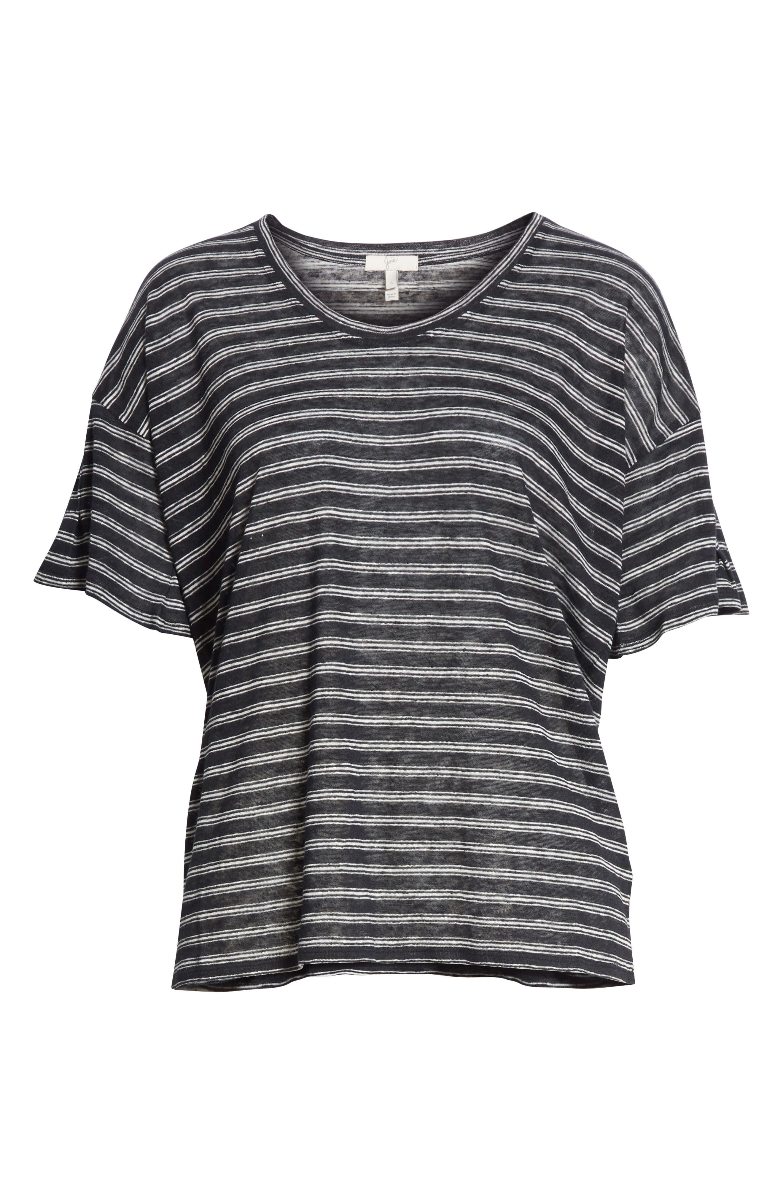 Adaira Stripe Linen Tee,                             Alternate thumbnail 6, color,                             Caviar/ Porcelain