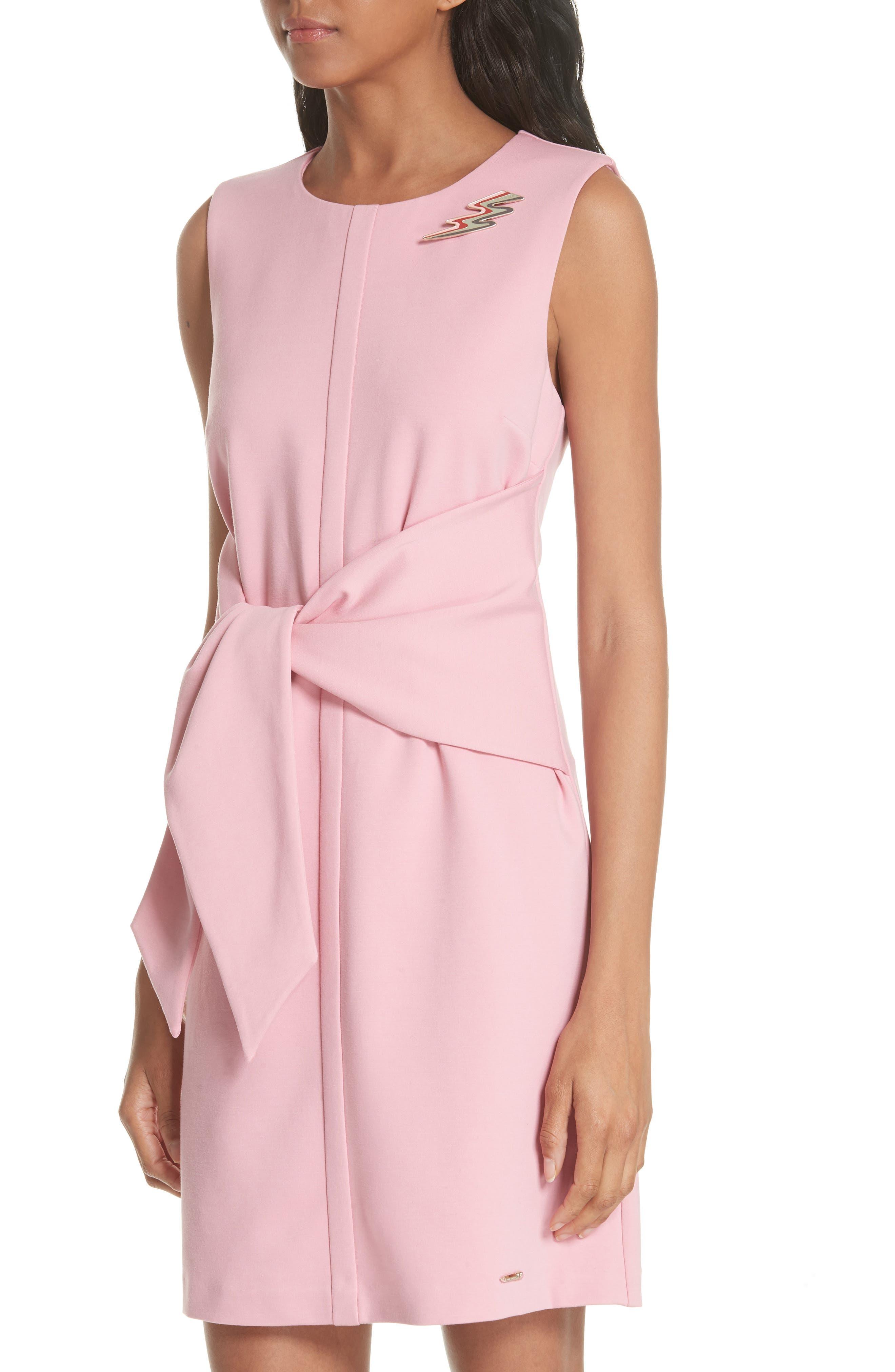 Papron Tie Front Dress,                             Alternate thumbnail 4, color,                             Pink