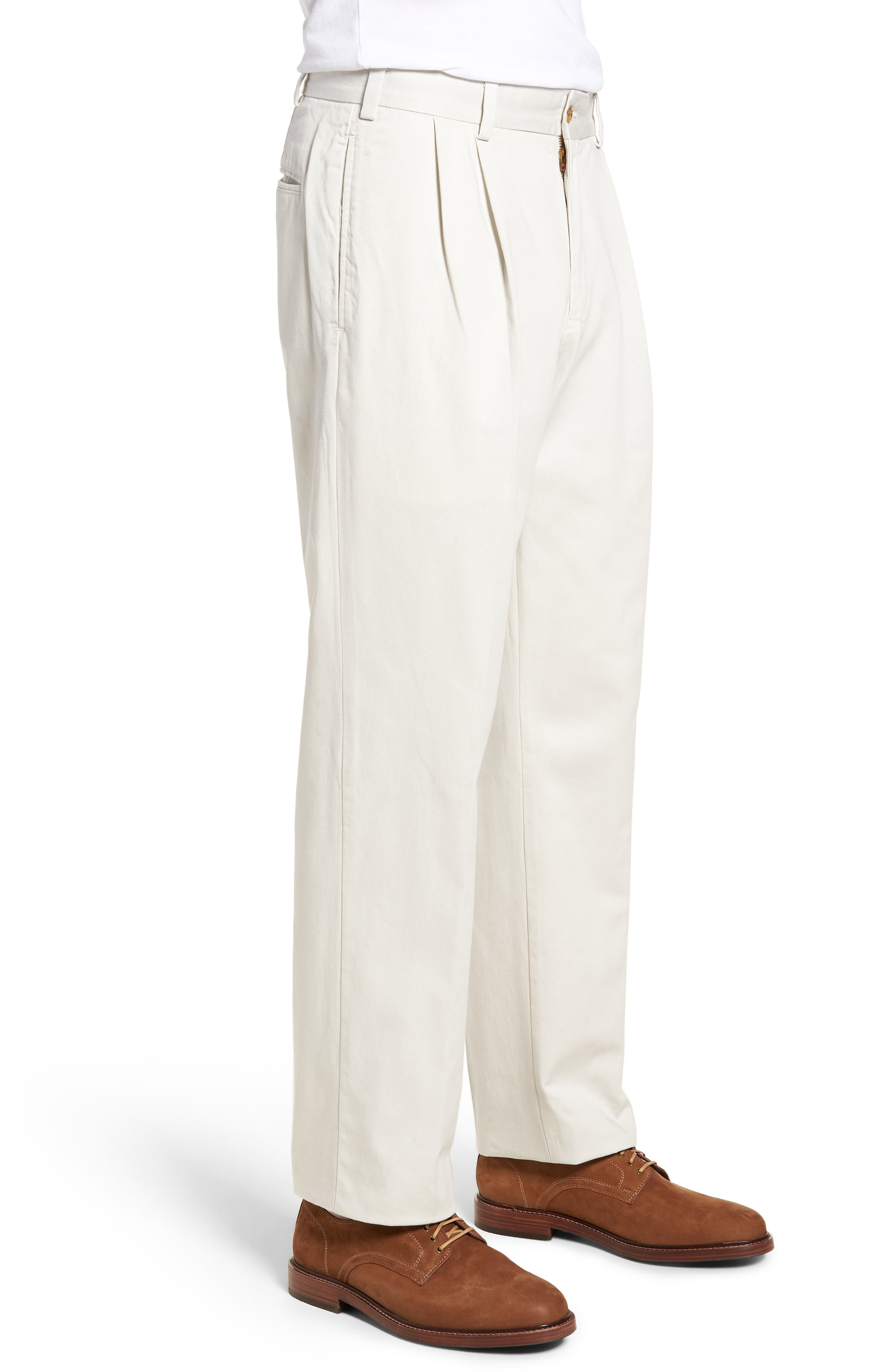 M2 Classic Fit Vintage Twill Pleated Pants,                             Alternate thumbnail 3, color,                             Stone