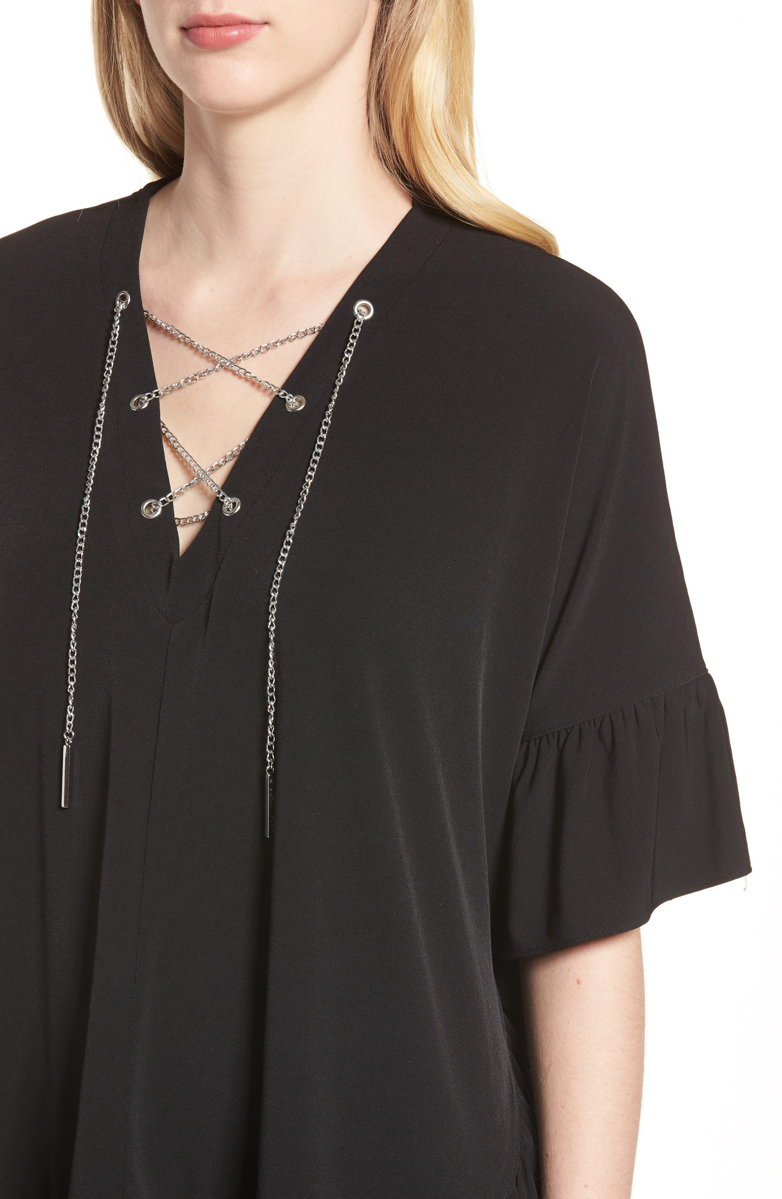Chain Lace Caftan Top,                             Alternate thumbnail 4, color,                             Black/ Silver