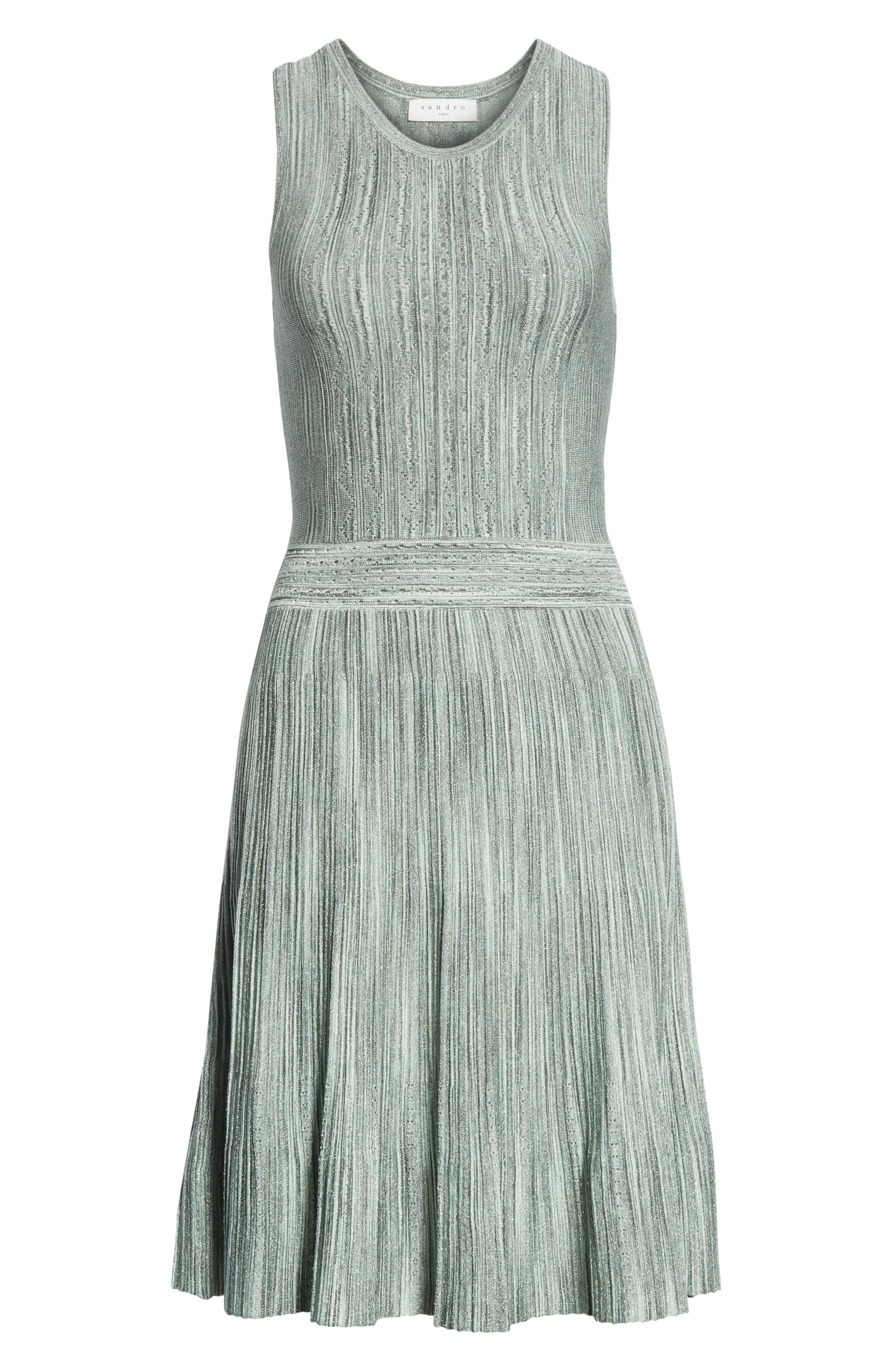 Stretch Knit Fit & Flare Dress,                             Alternate thumbnail 6, color,                             Green