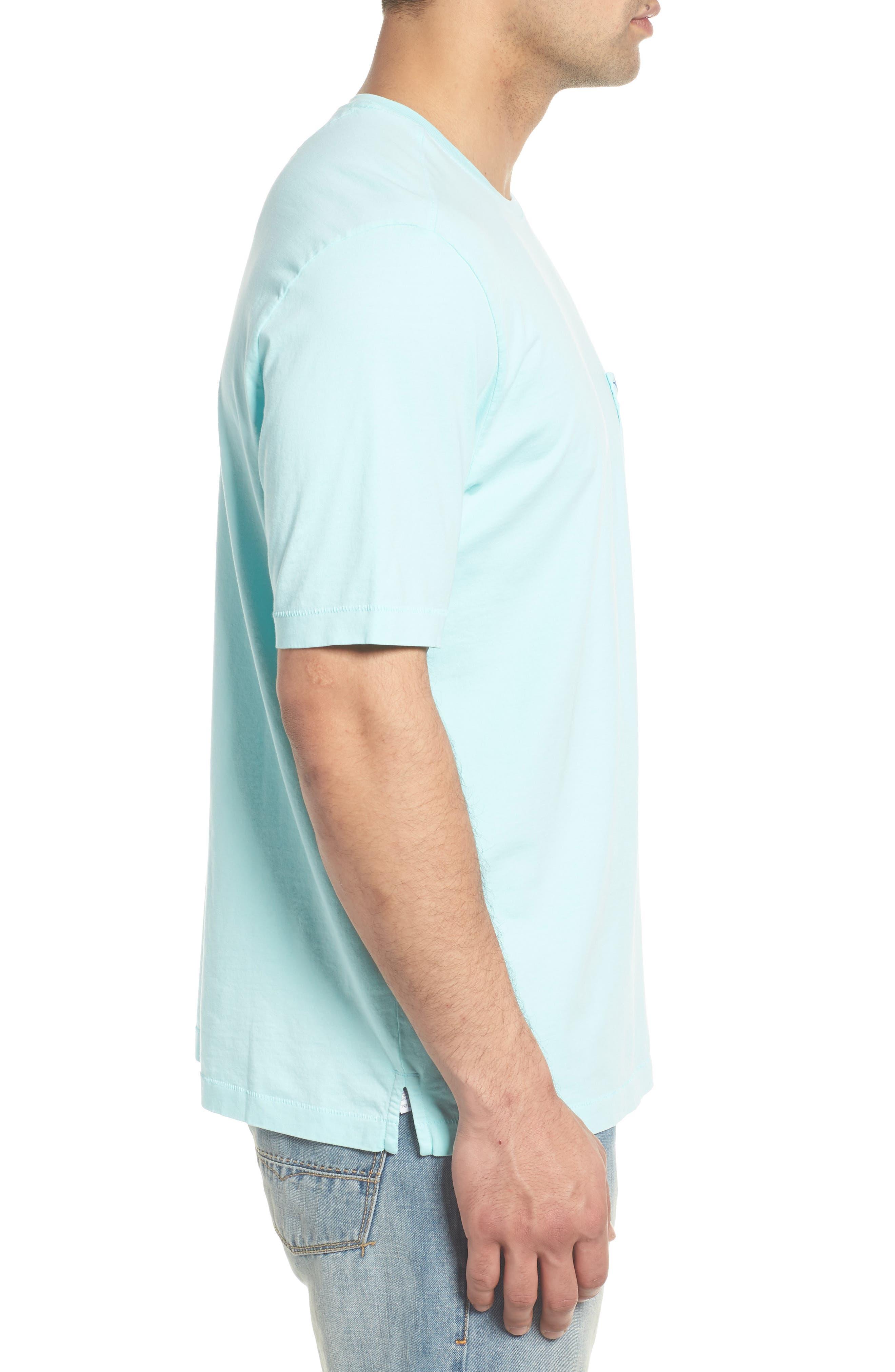 'New Bali Sky' Original Fit Crewneck Pocket T-Shirt,                             Alternate thumbnail 3, color,                             Aqua Mist
