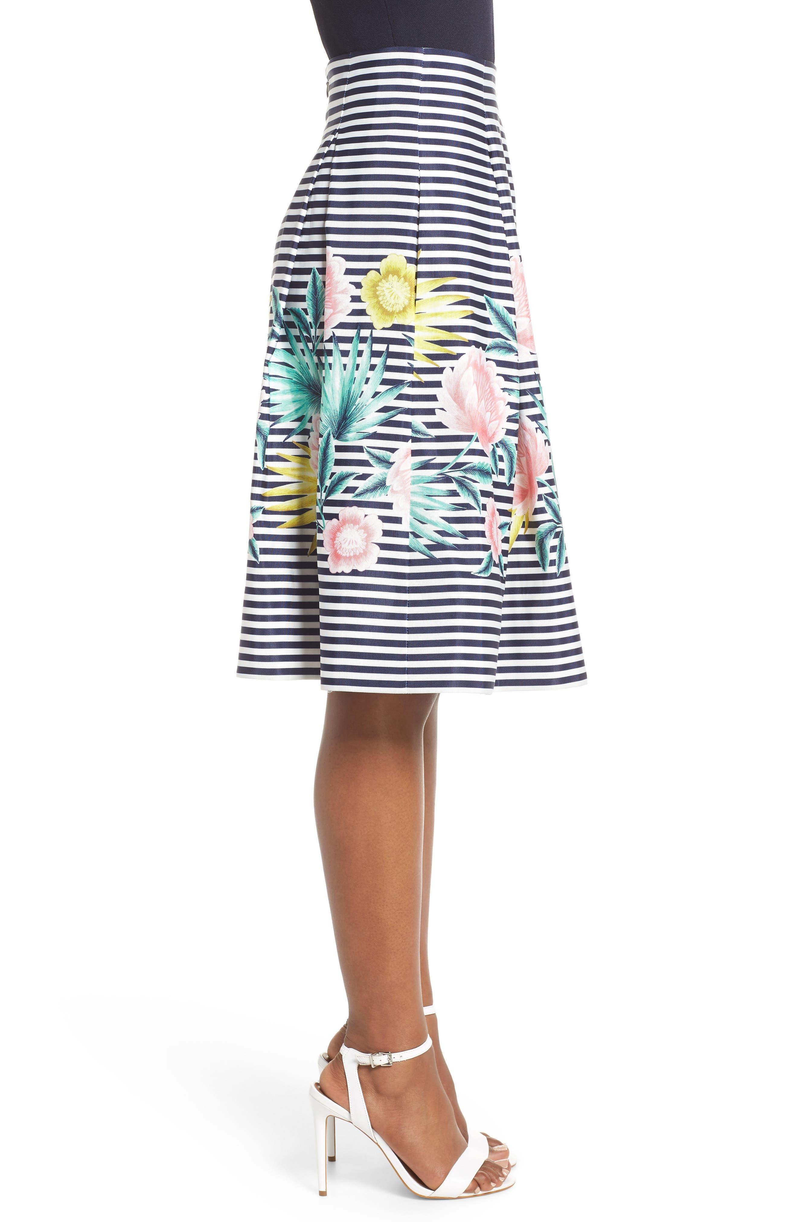 Floral & Stripe A-Line Skirt,                             Alternate thumbnail 4, color,                             Navy
