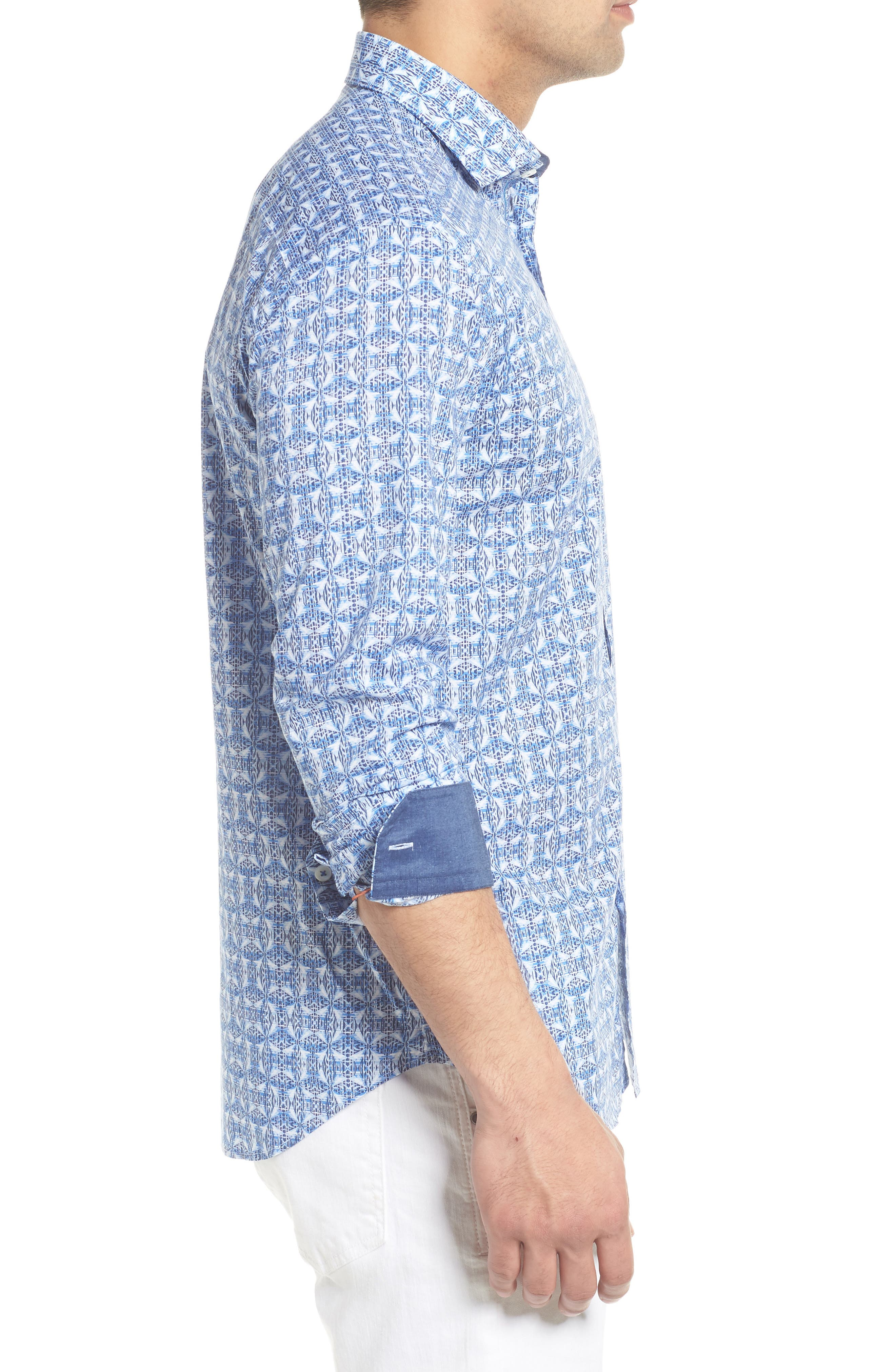Shaped Fit Abstract Print Sport Shirt,                             Alternate thumbnail 4, color,                             Classic Blue