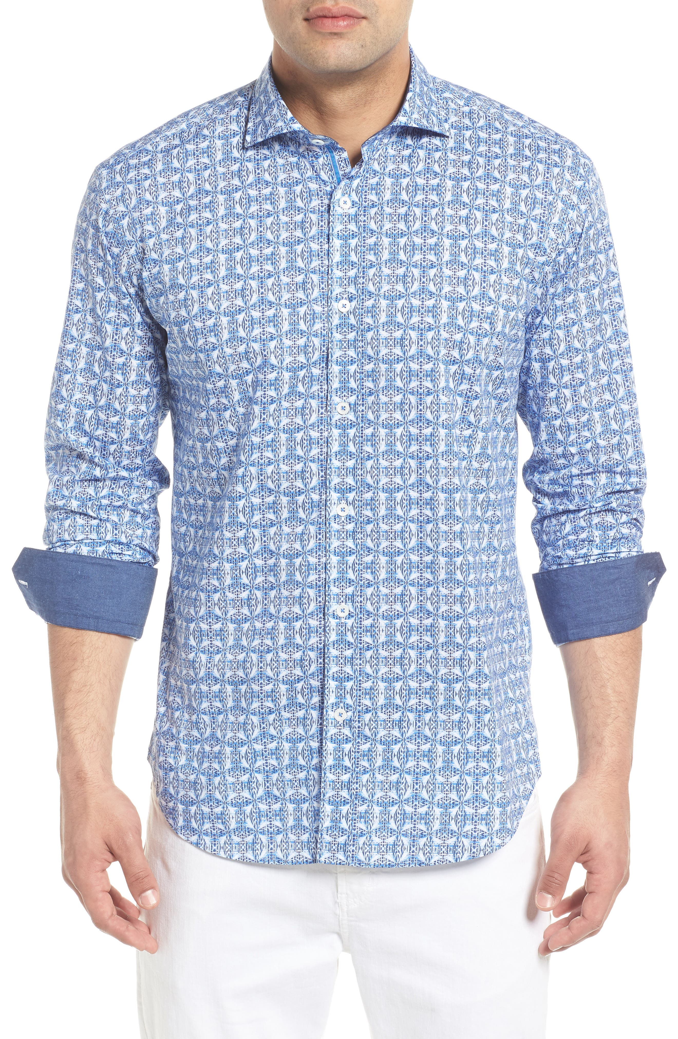 Shaped Fit Abstract Print Sport Shirt,                         Main,                         color, Classic Blue