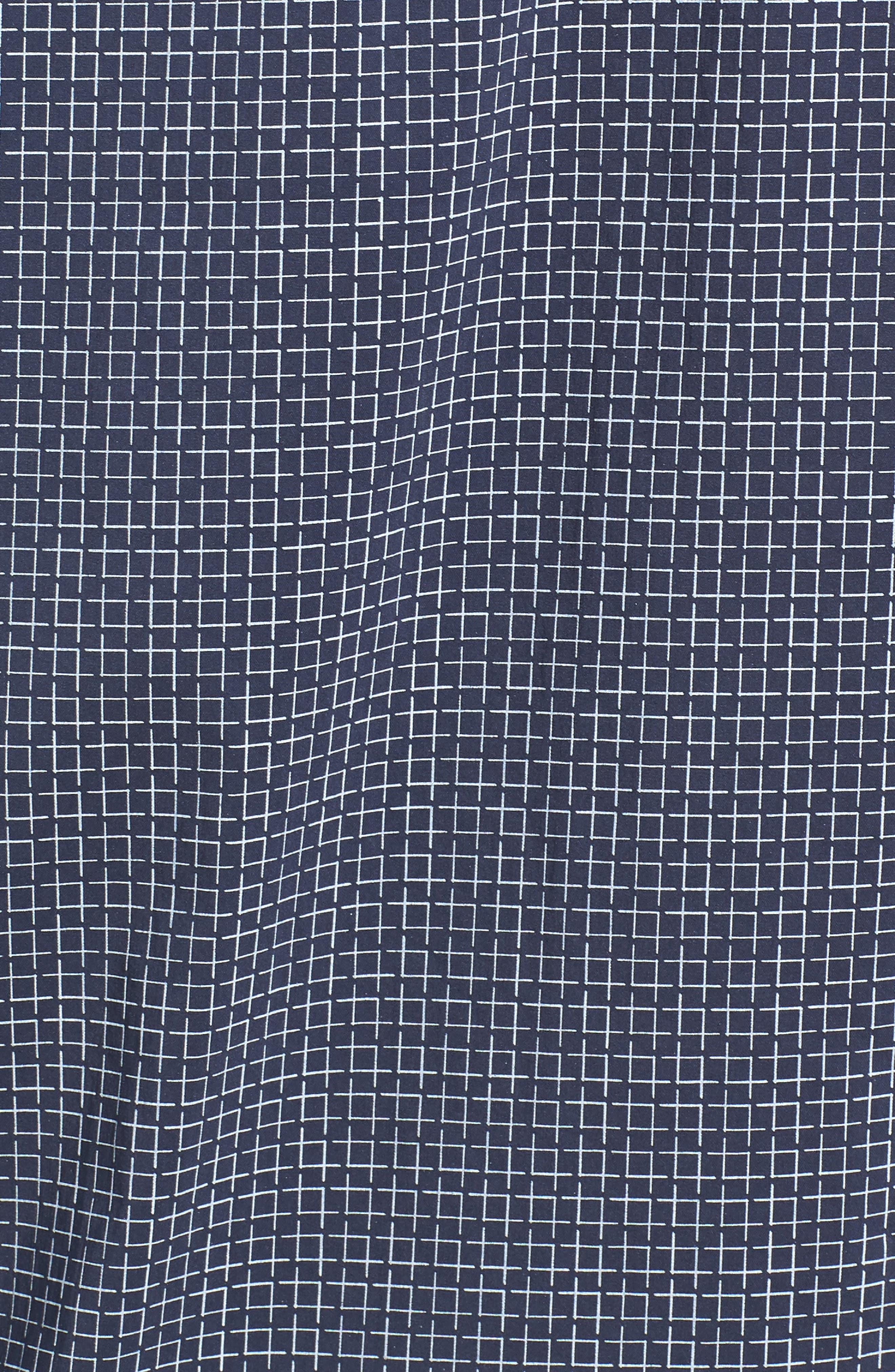 Shaped Fit Broken Grid Performance Sport Shirt,                             Alternate thumbnail 5, color,                             Navy