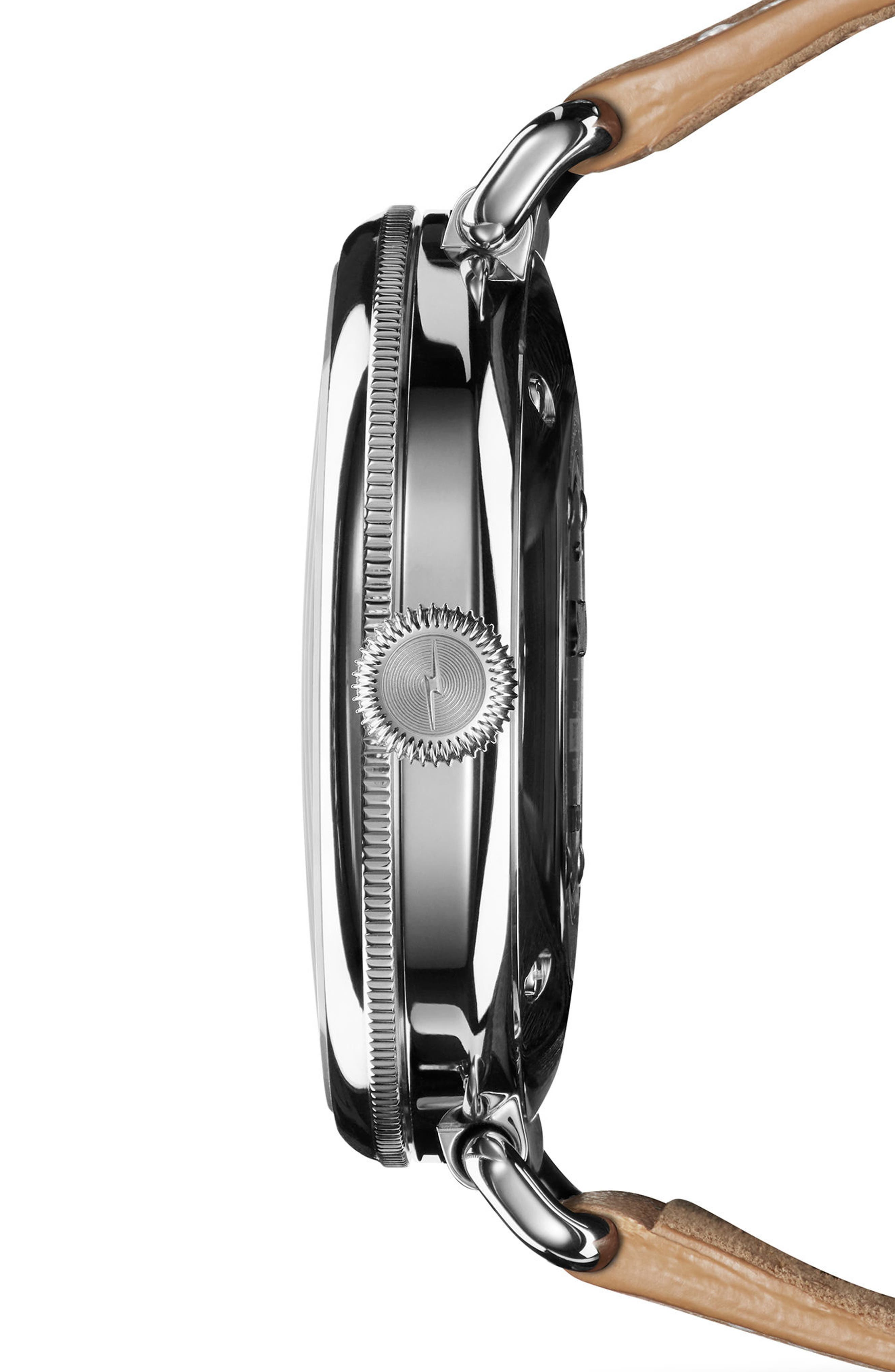 The Canfield Alligator Strap Watch, 38mm,                             Alternate thumbnail 3, color,                             Natural/ Metallic/ Silver