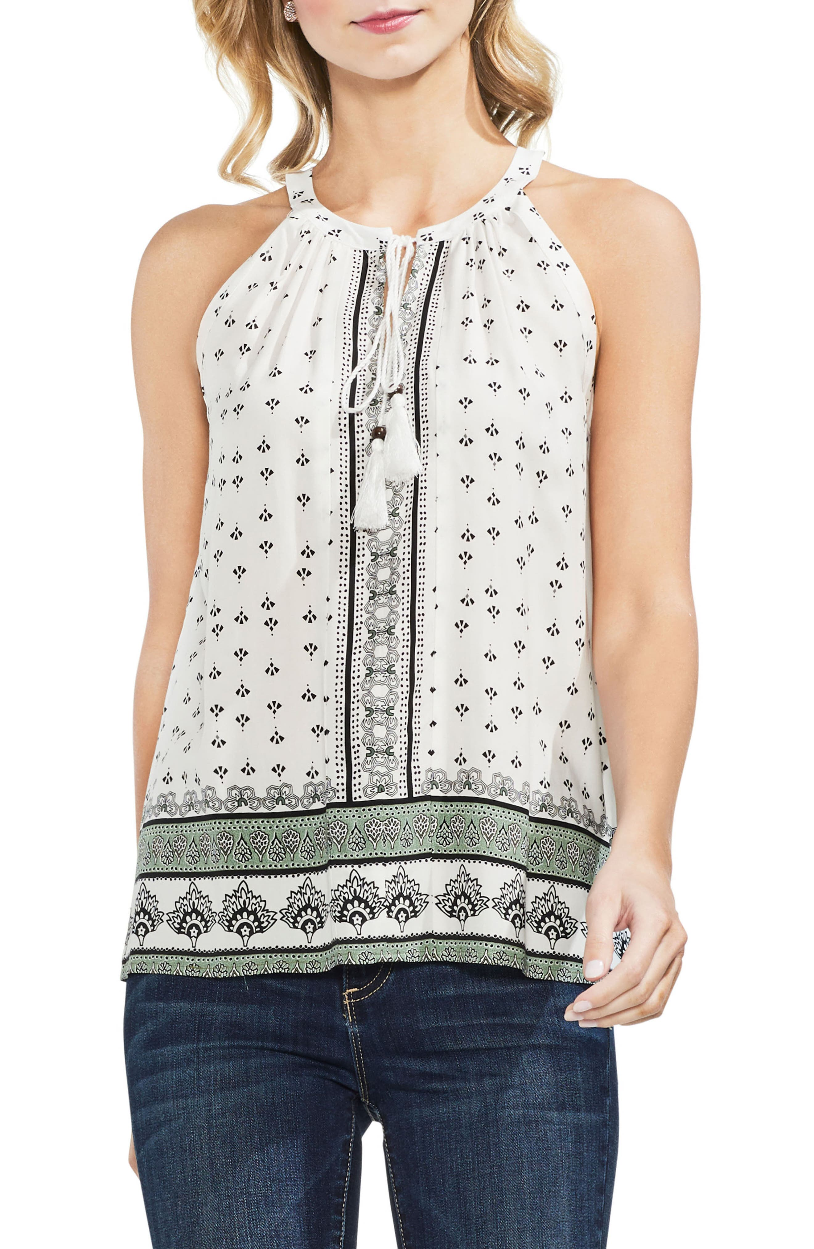 Halter Style Print Top,                         Main,                         color, New Ivory