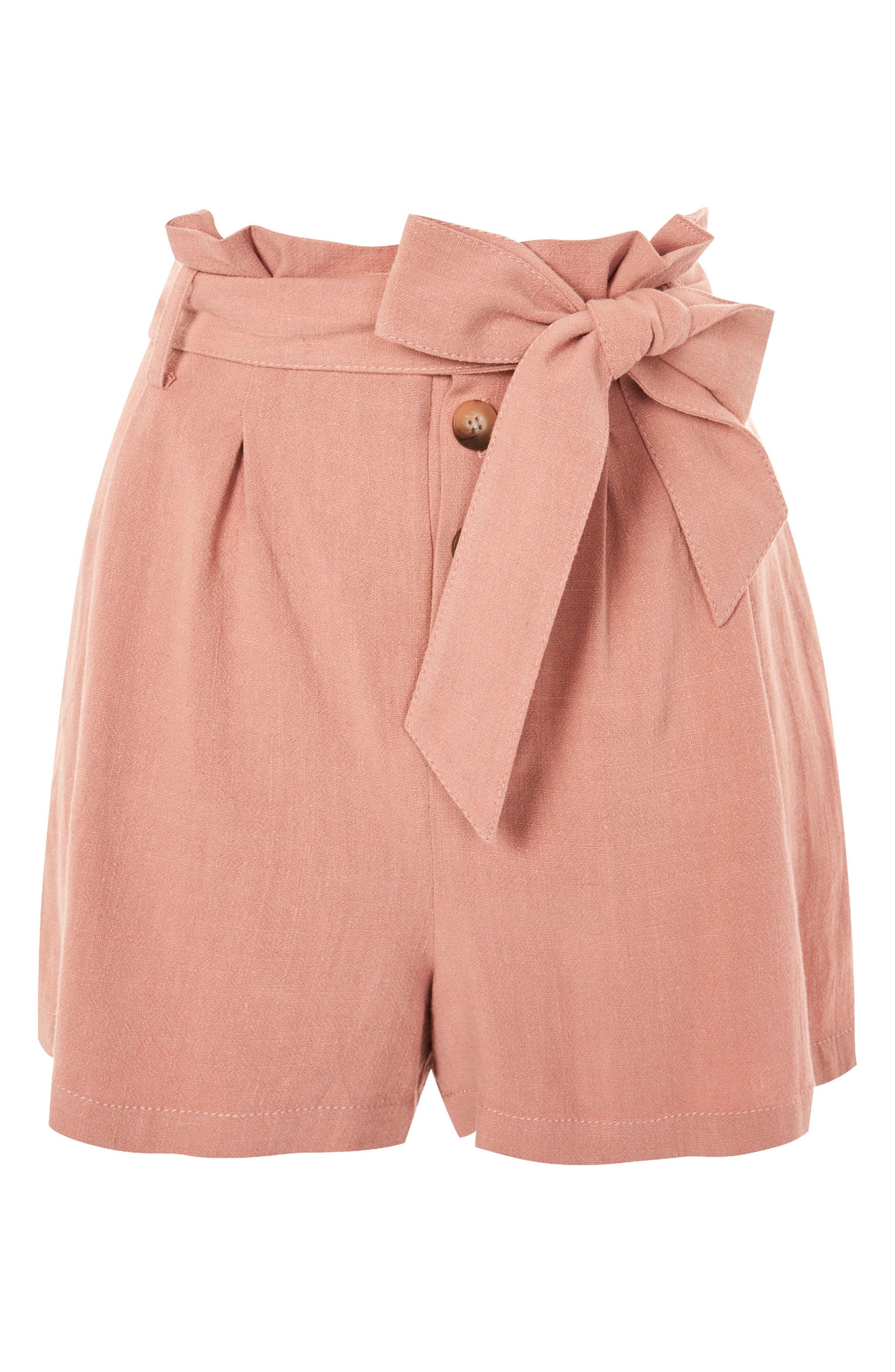 Linen Button Paperbag Shorts,                             Alternate thumbnail 3, color,                             Blush