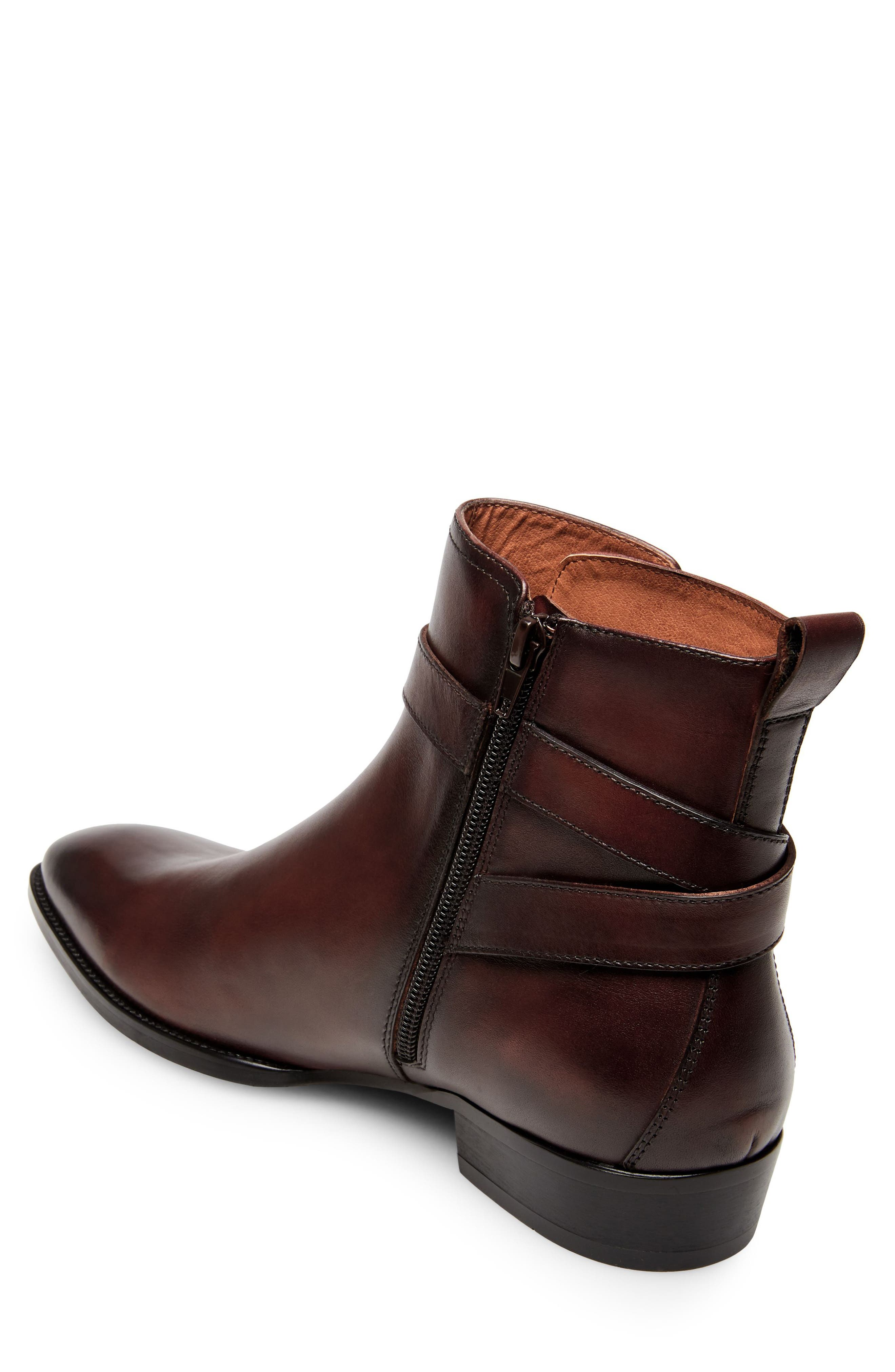 Sacha Buckle Strap Boot,                             Alternate thumbnail 2, color,                             Brown Leather