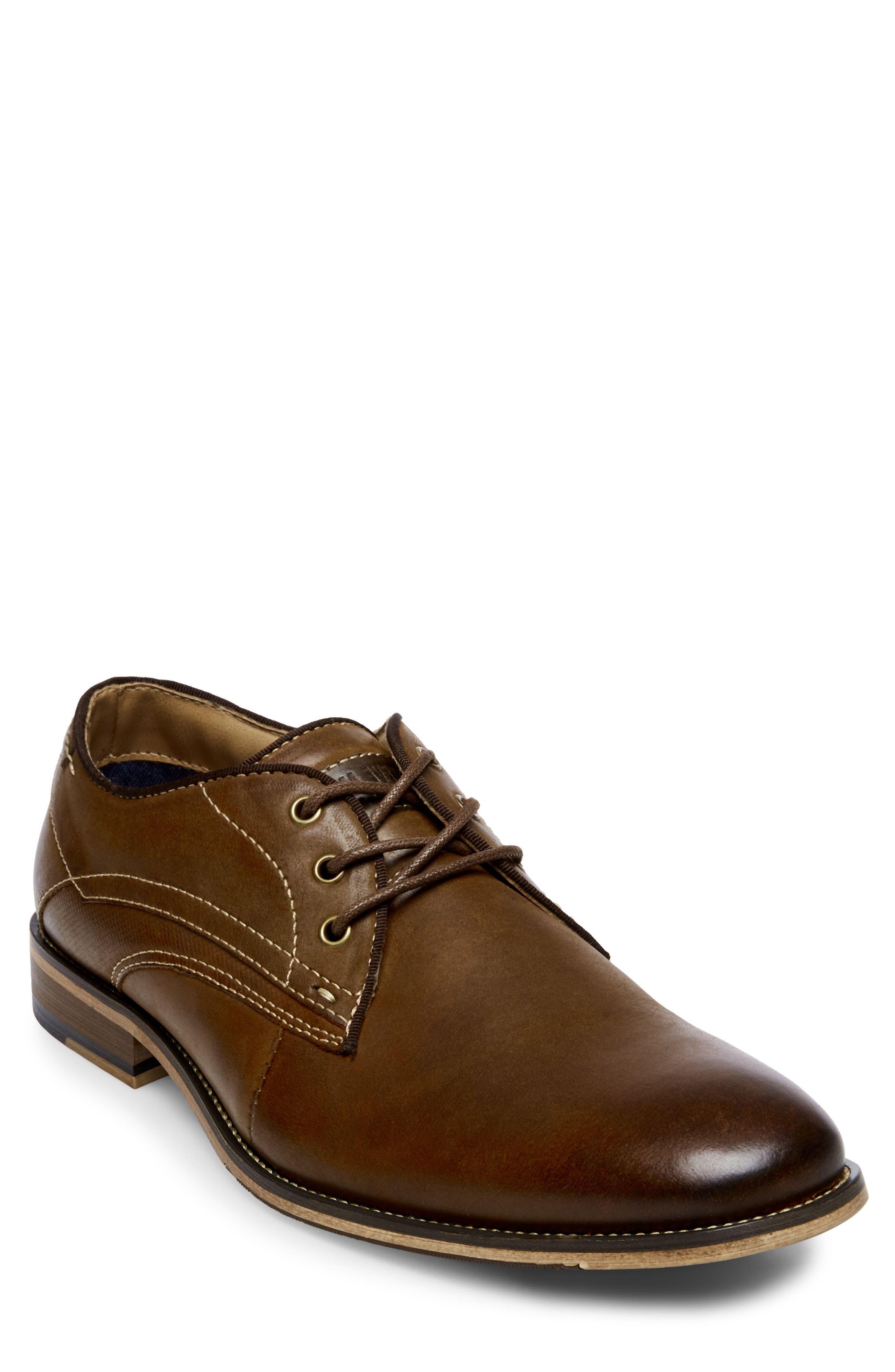 Jetset Plain Toe Derby,                             Main thumbnail 1, color,                             Dark Tan Leather