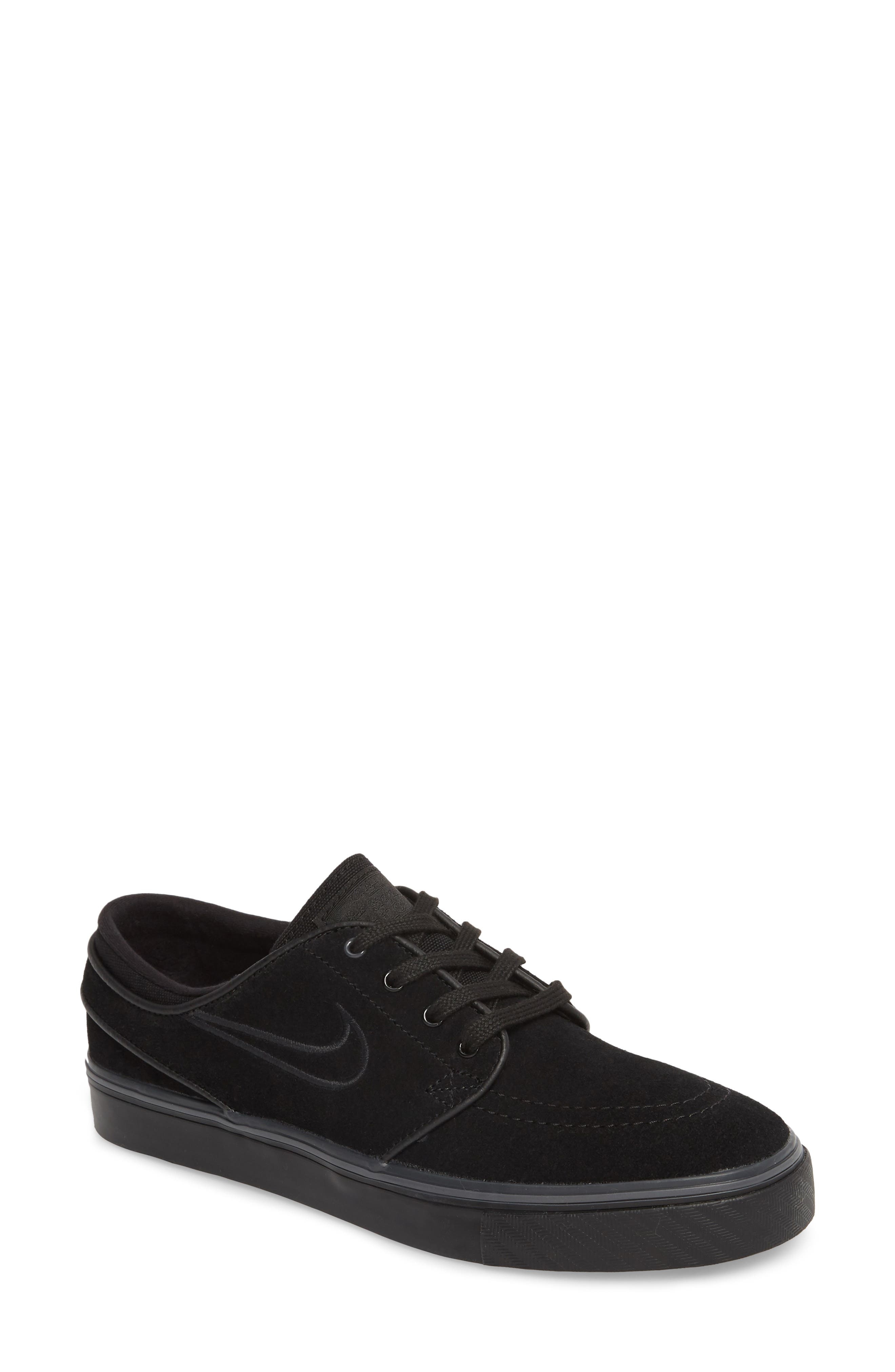 SB Air Zoom Stefan Janoski Skate Sneaker,                         Main,                         color, Black/ Black/ Black