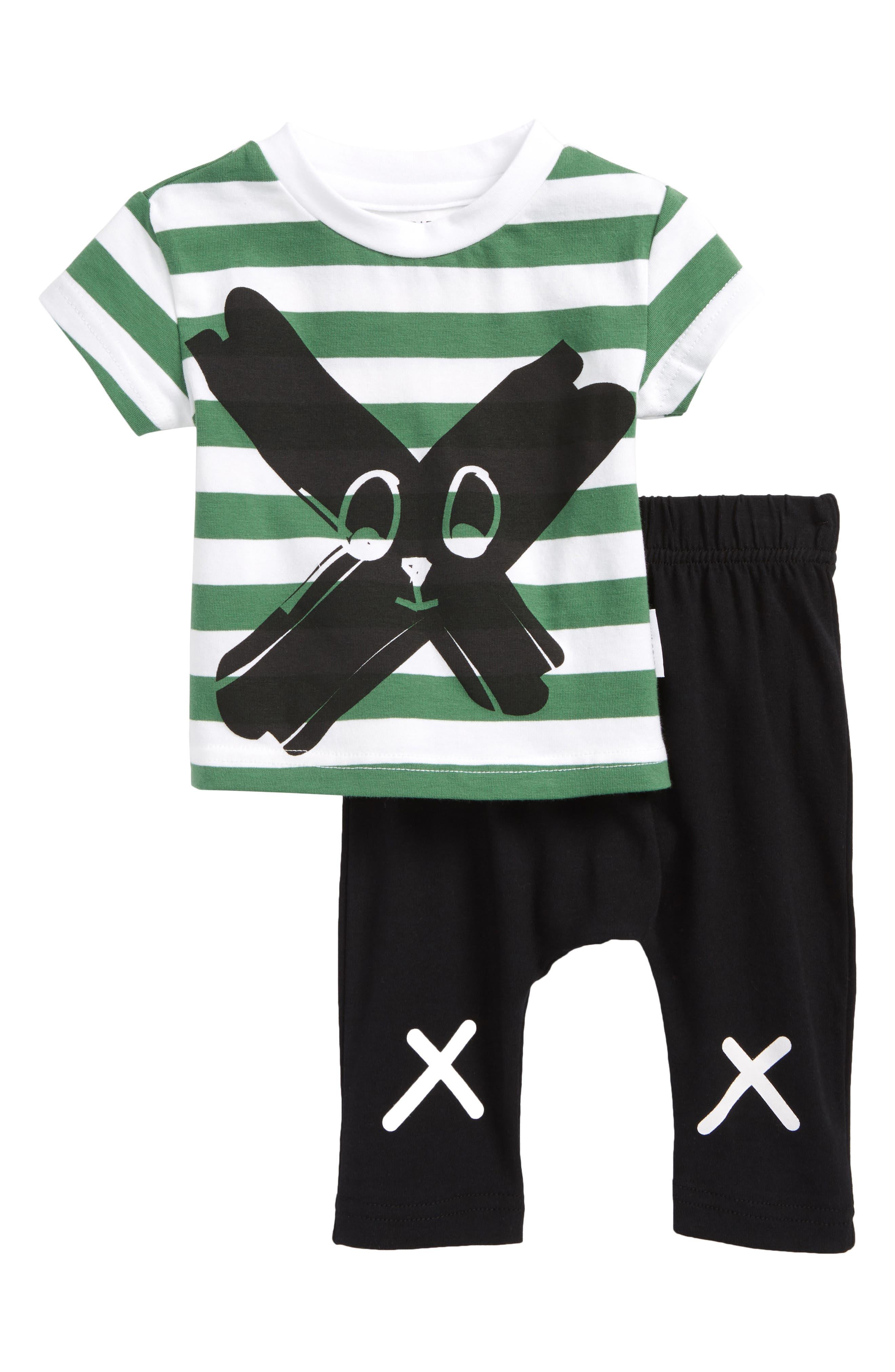 Face Paint T-Shirt & Pants Set,                         Main,                         color, Multi/ Black