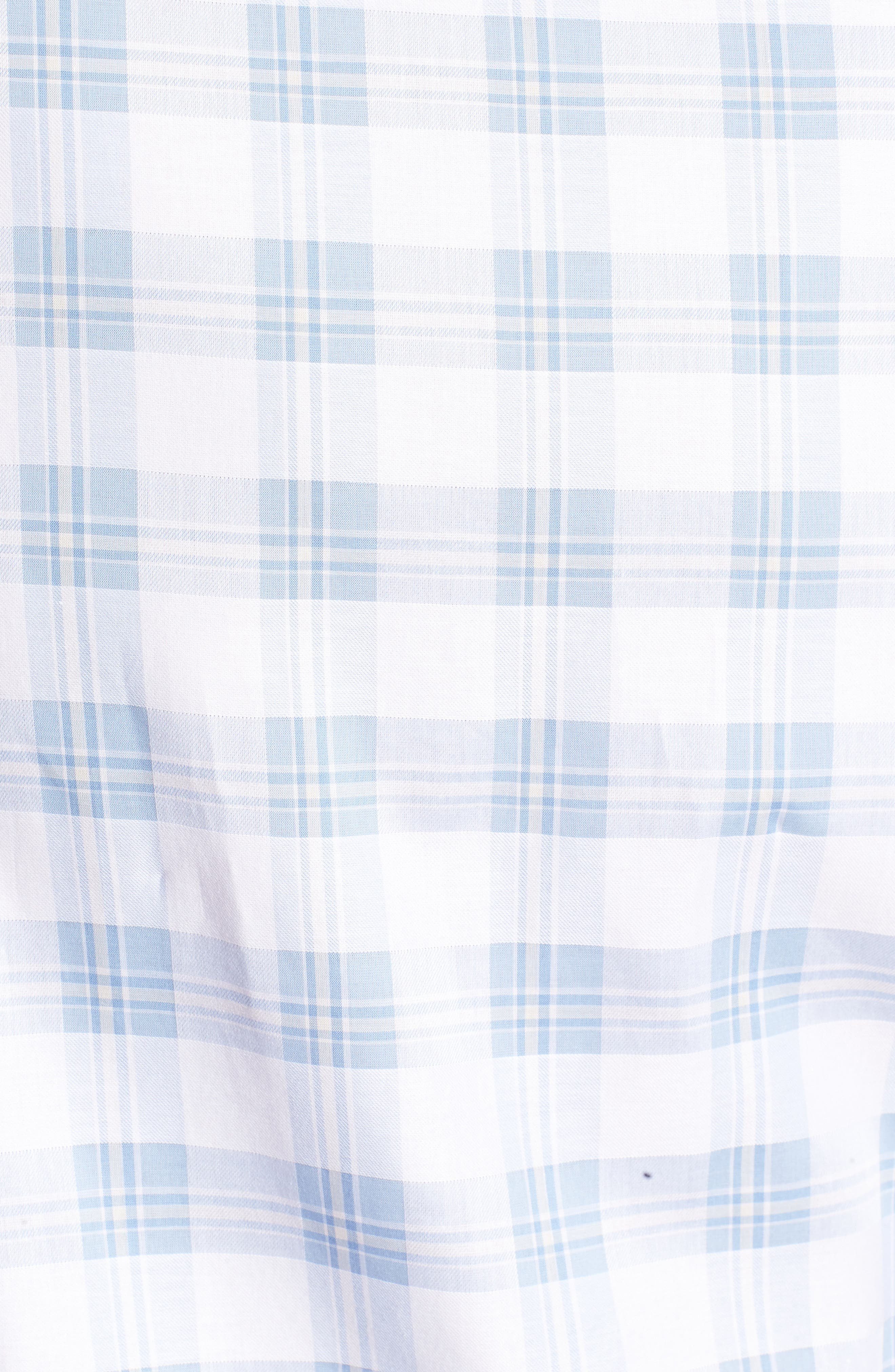 Classic Fit Tartan Check Sport Shirt,                             Alternate thumbnail 5, color,                             Sky