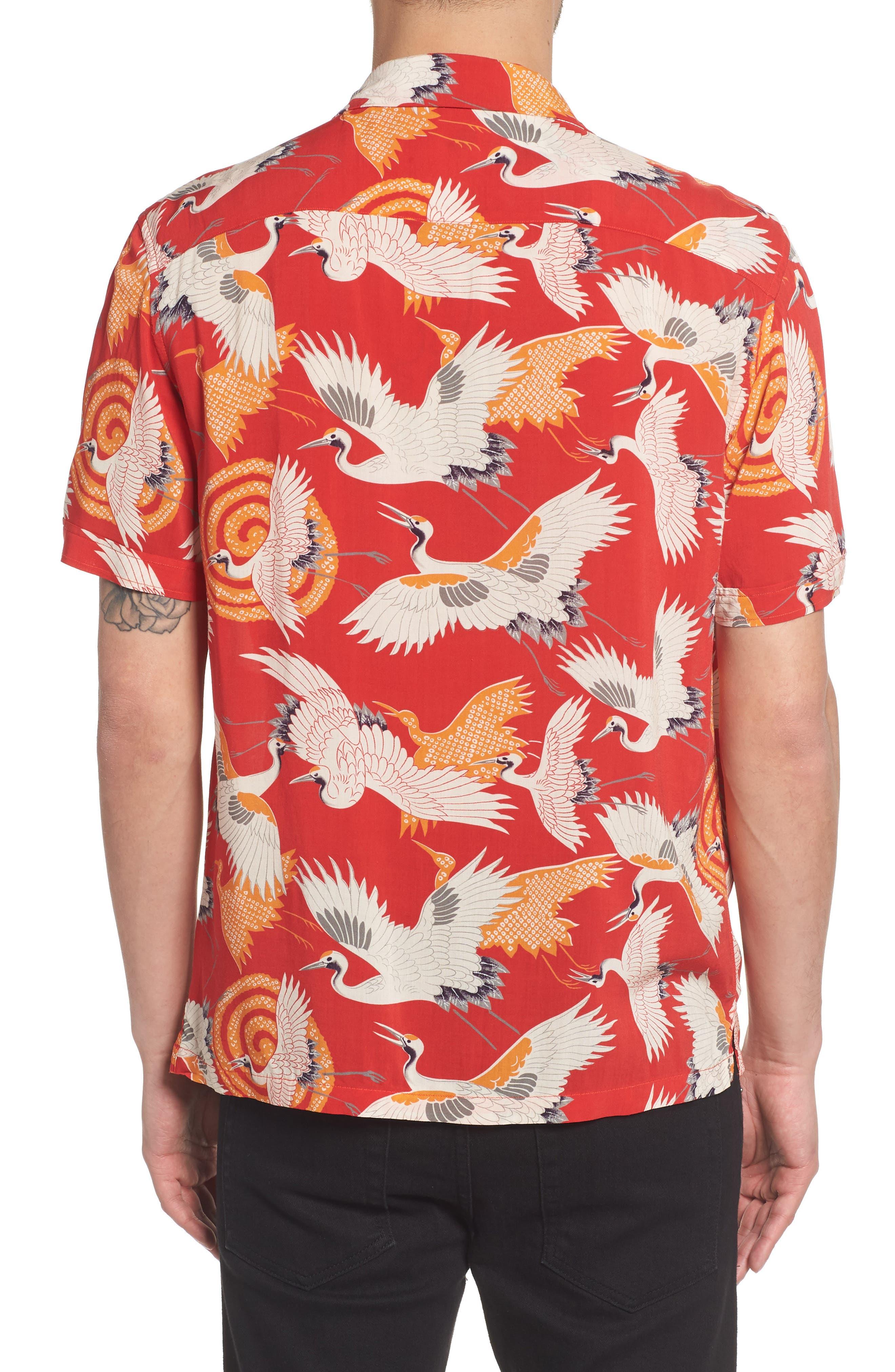 Tsuru Regular Fit Short Sleeve Sport Shirt,                             Alternate thumbnail 3, color,                             Red