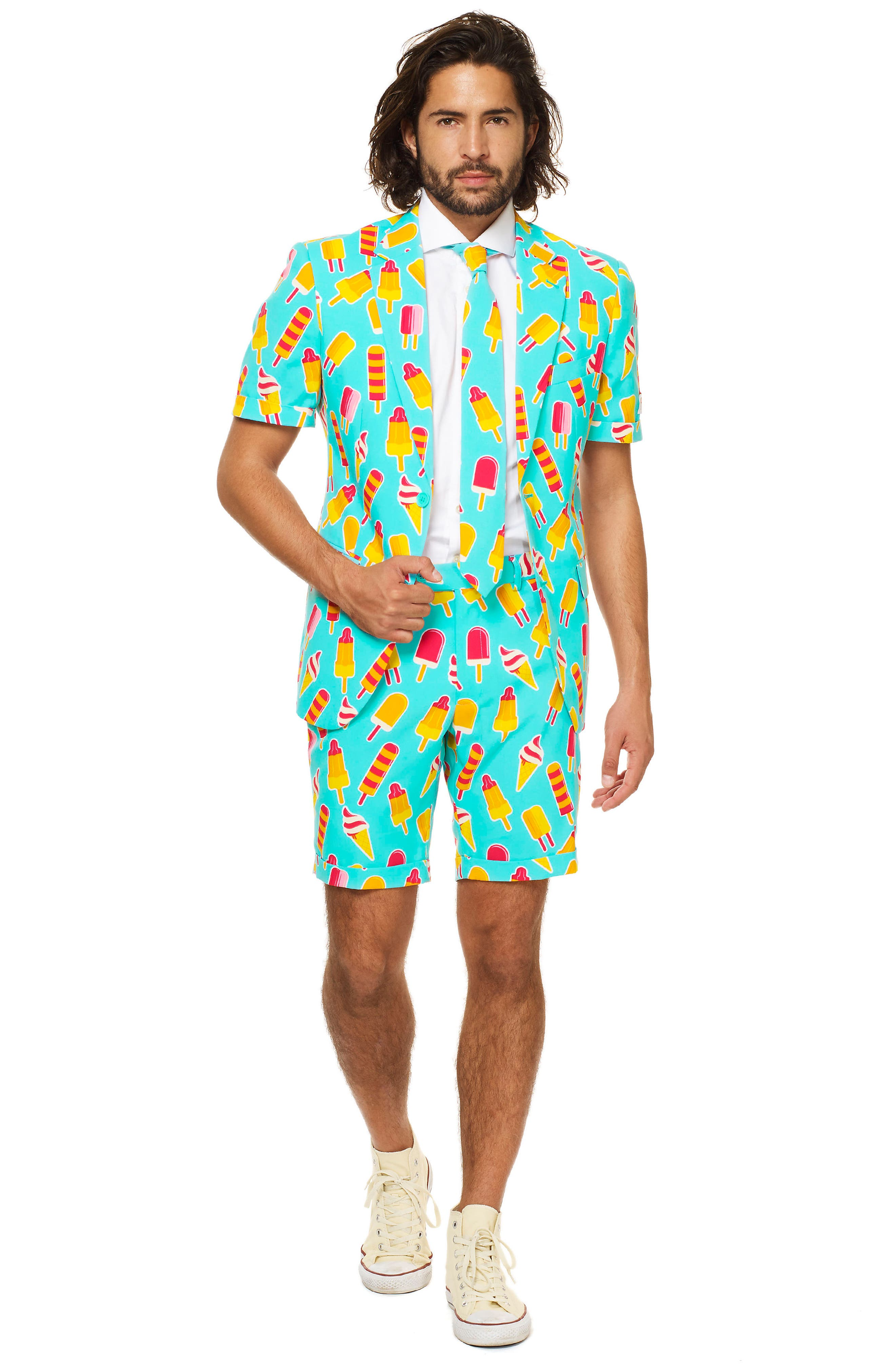 Alternate Image 3  - OppoSuits Summer Cool Cones Trim Fit Two-Piece Short Suit with Tie