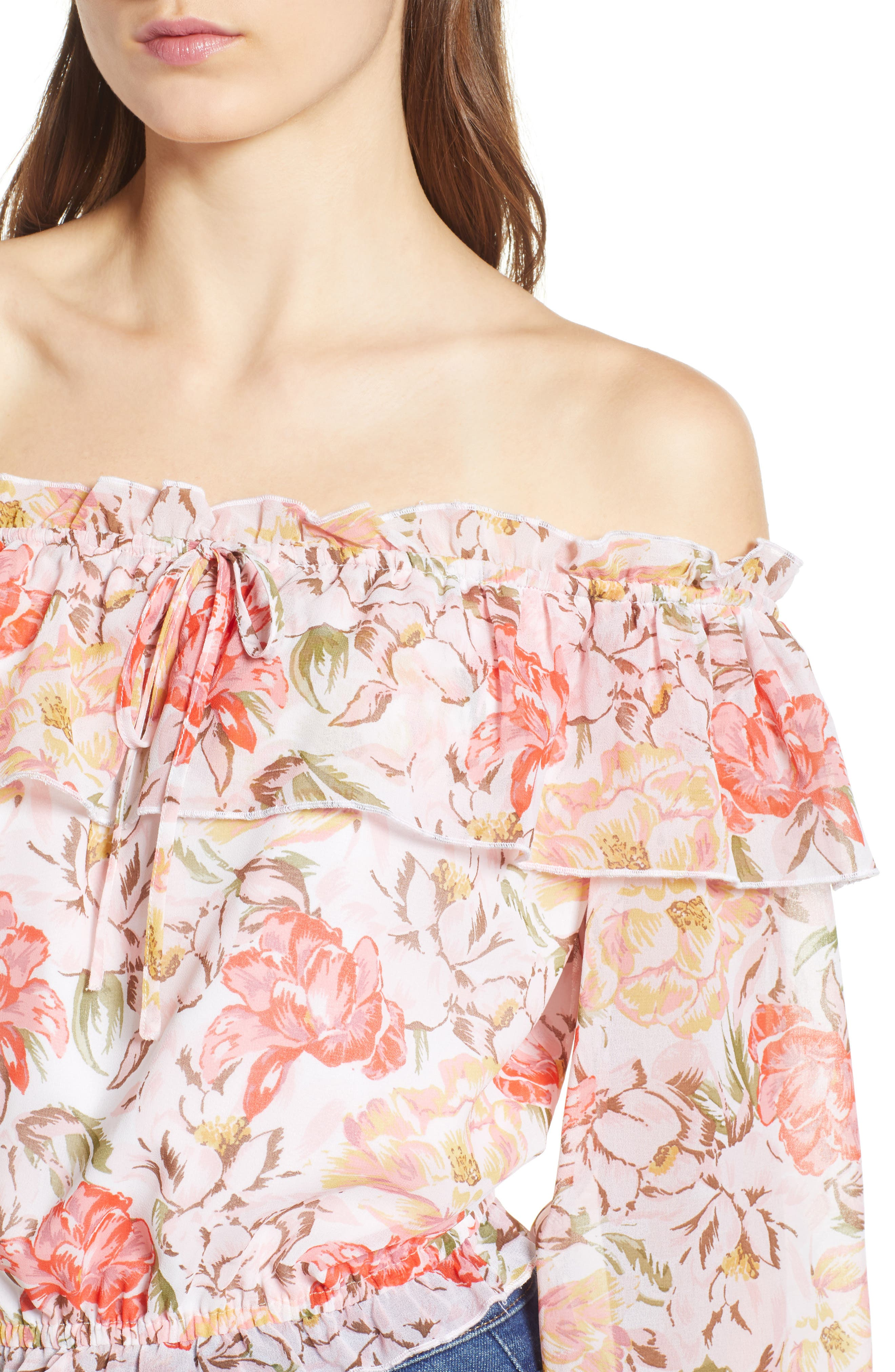 Cosenza Off the Shoulder Crop Top,                             Alternate thumbnail 4, color,                             Ivory Floral