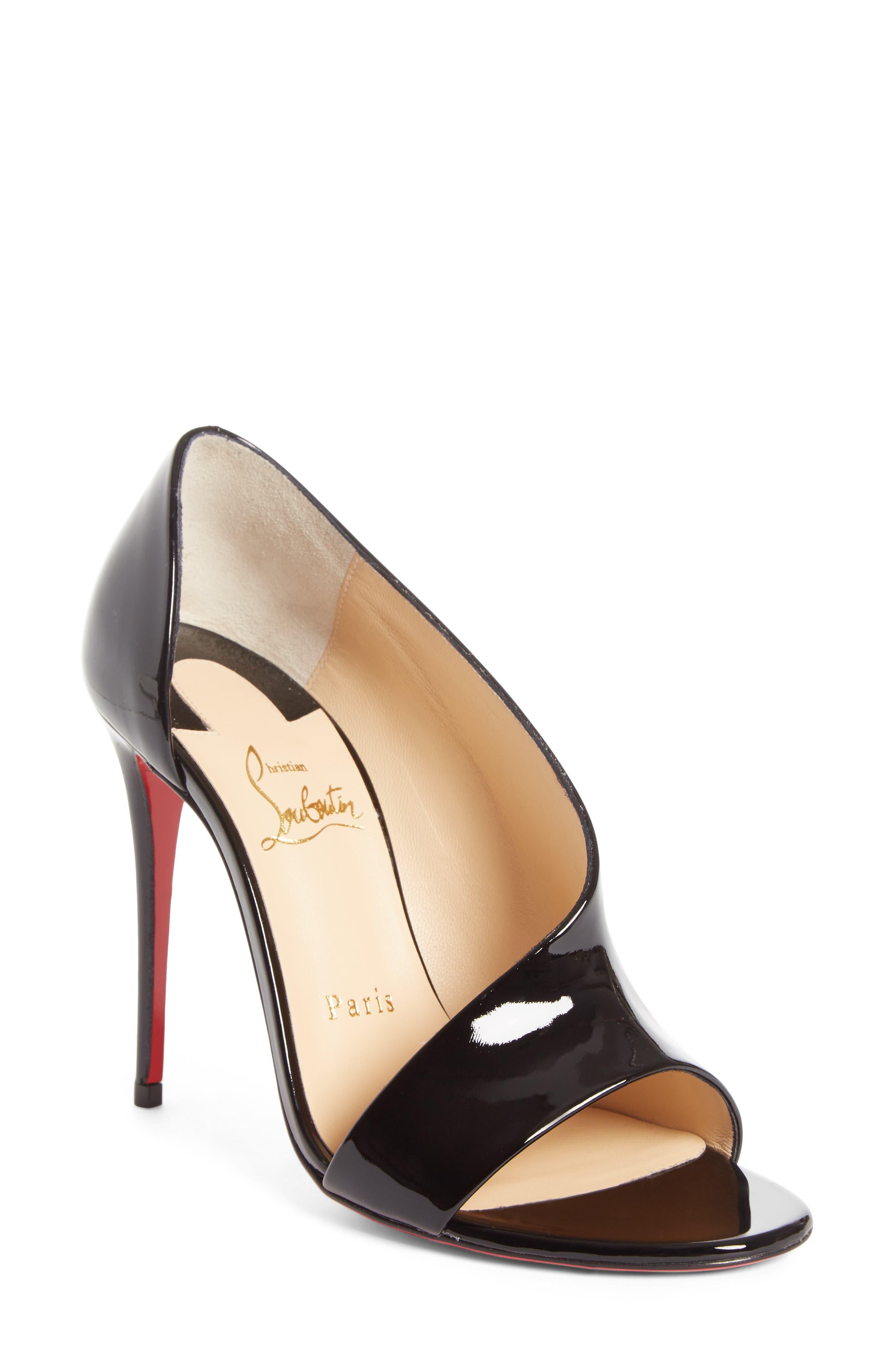 Phoebe Half d'Orsay Sandal,                             Main thumbnail 1, color,                             Black Patent