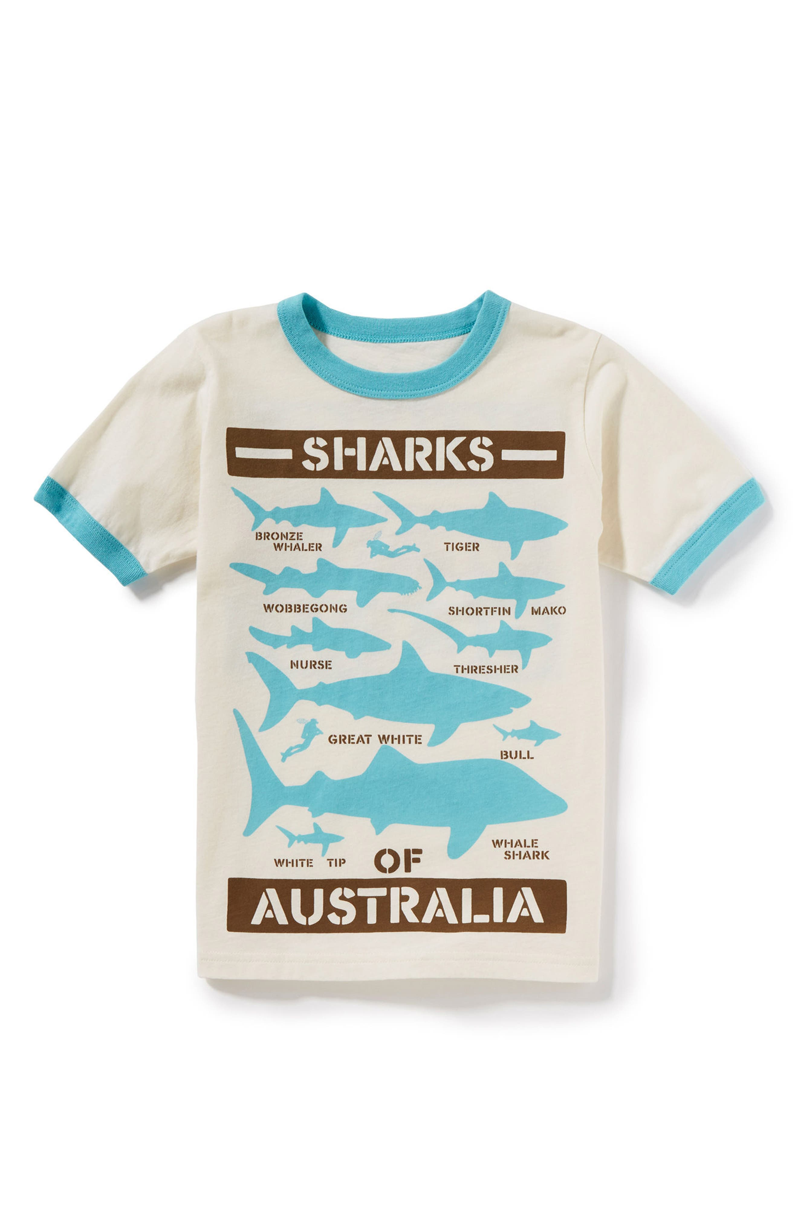 Shark Graphic T-Shirt,                         Main,                         color, Ivory