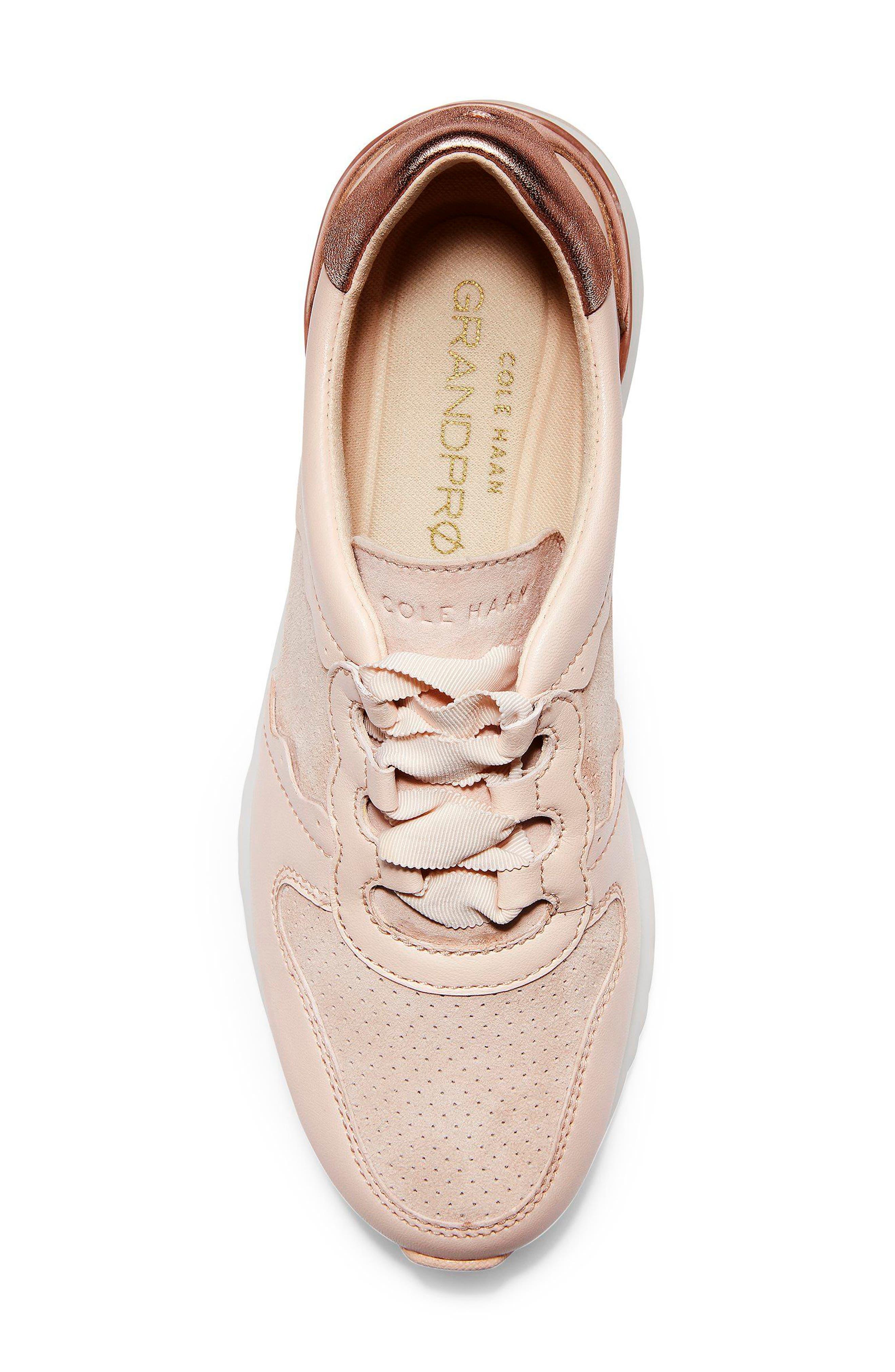 GrandPro Wedge Sneaker,                             Alternate thumbnail 5, color,                             Peach Blush Suede