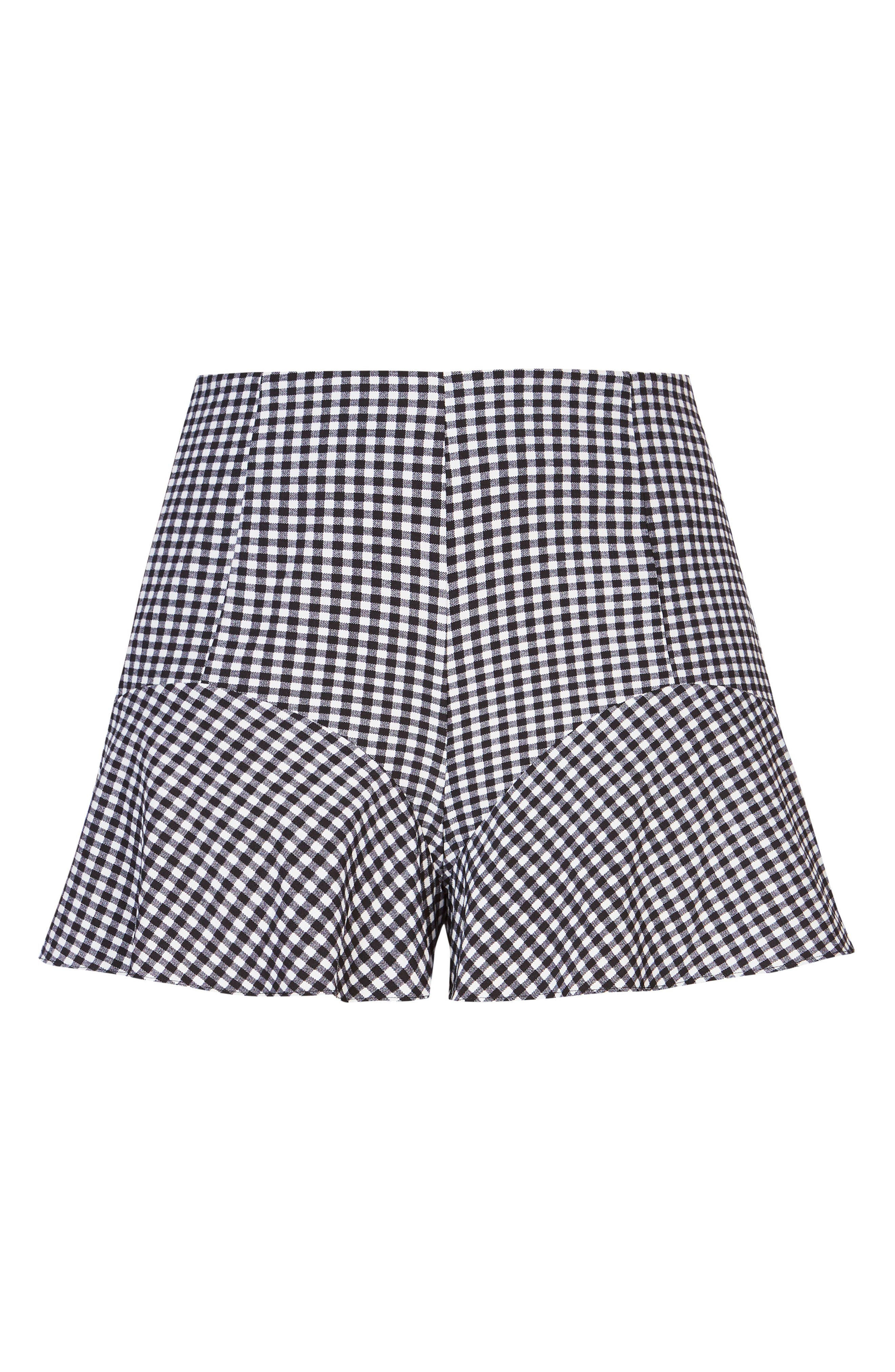 Cute Gingham Flutter Shorts,                             Alternate thumbnail 4, color,                             Black Check