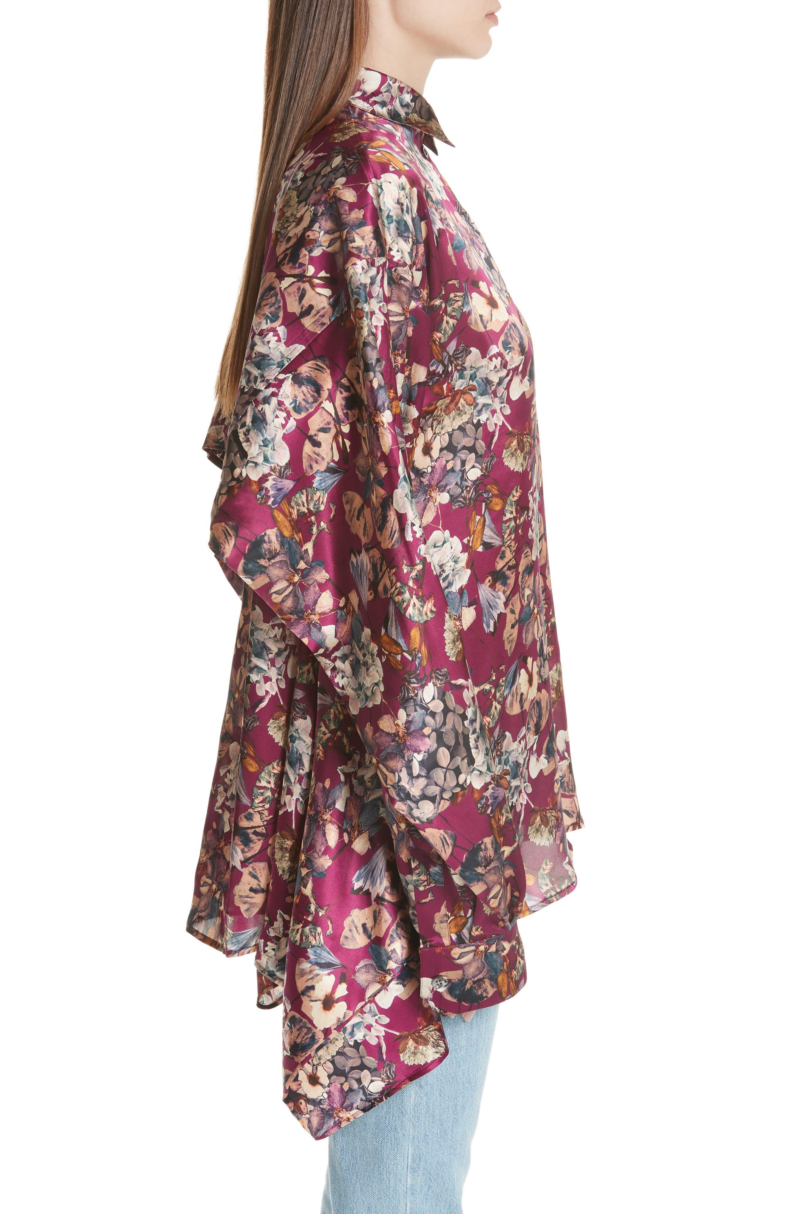 Floral Silk Blouse,                             Alternate thumbnail 3, color,                             Purple1