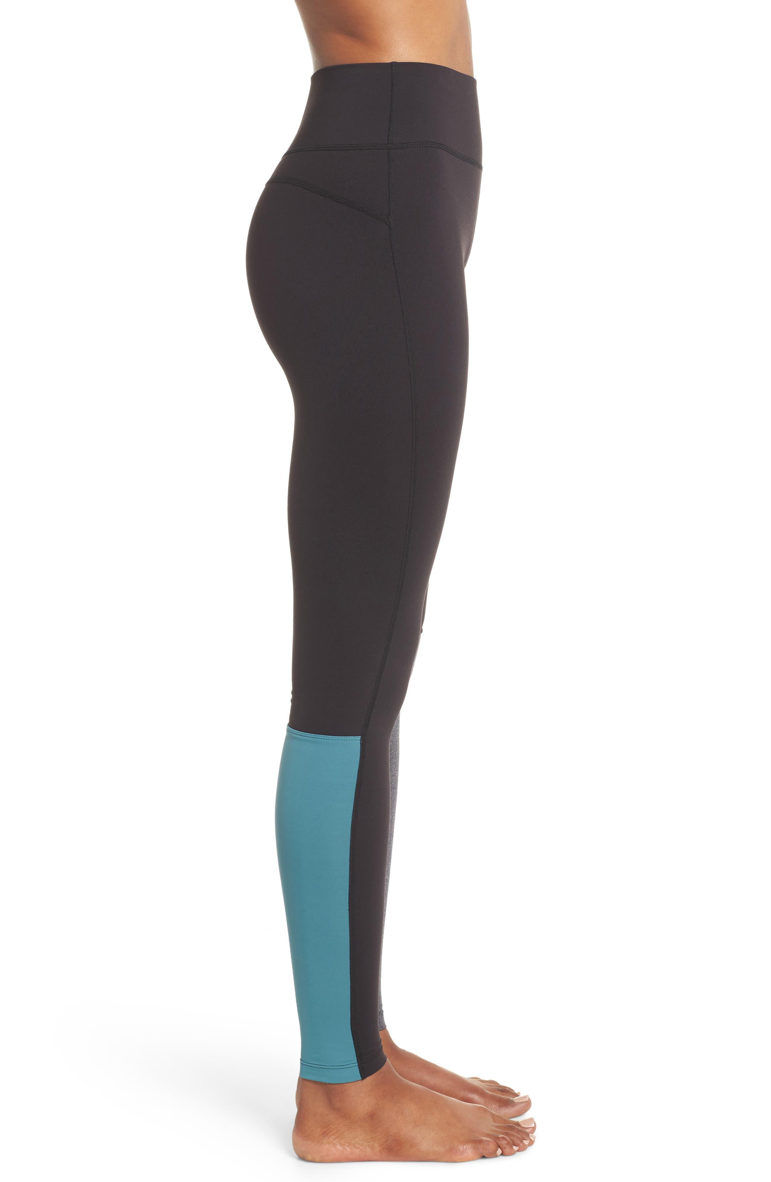 Flash Leggings,                             Alternate thumbnail 3, color,                             Black/ Heather Grey/ Blue Surf