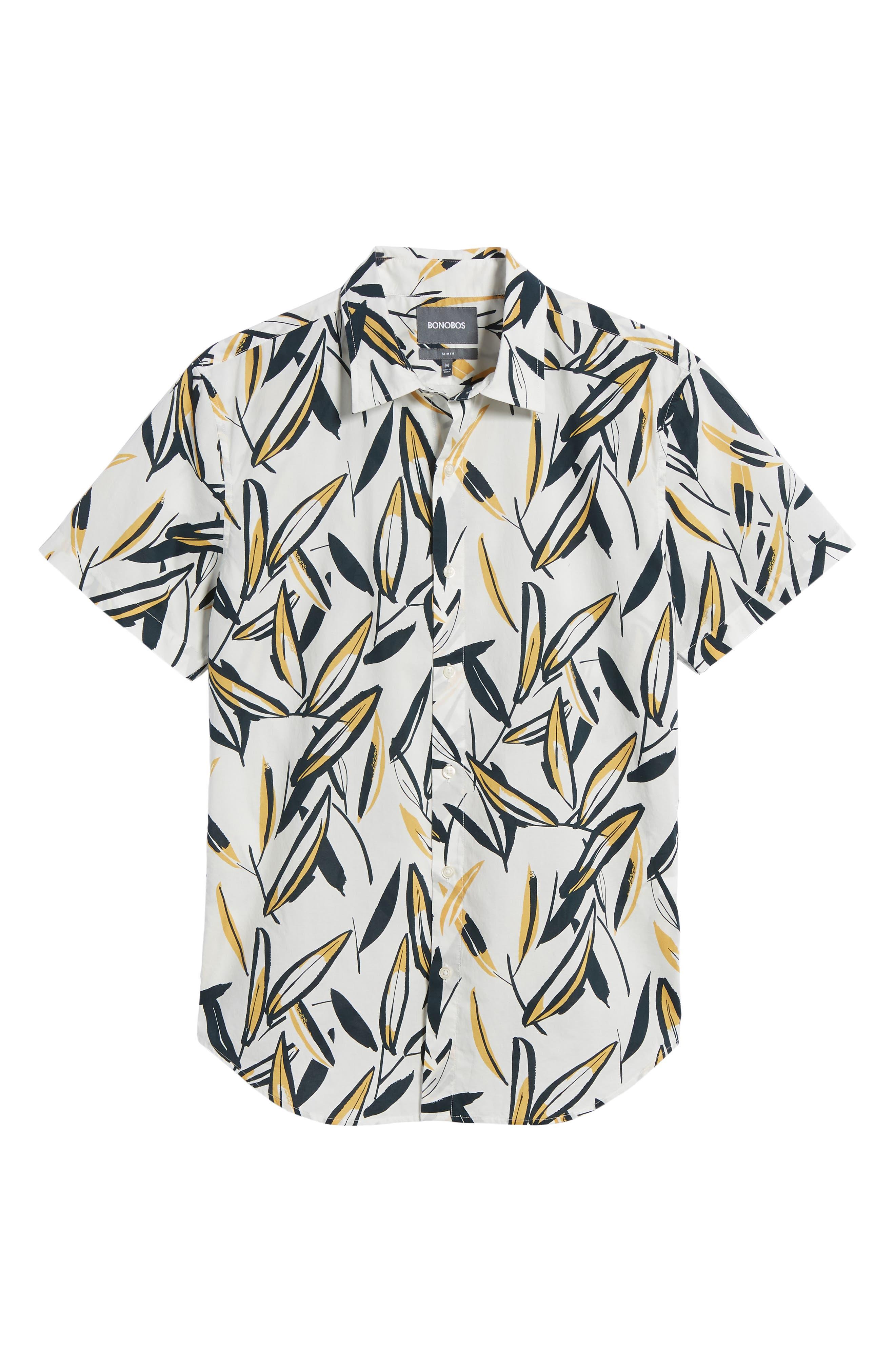 Riviera Slim Fit Leafy Print Sport Shirt,                             Alternate thumbnail 6, color,                             Leafy Arbor - Curry