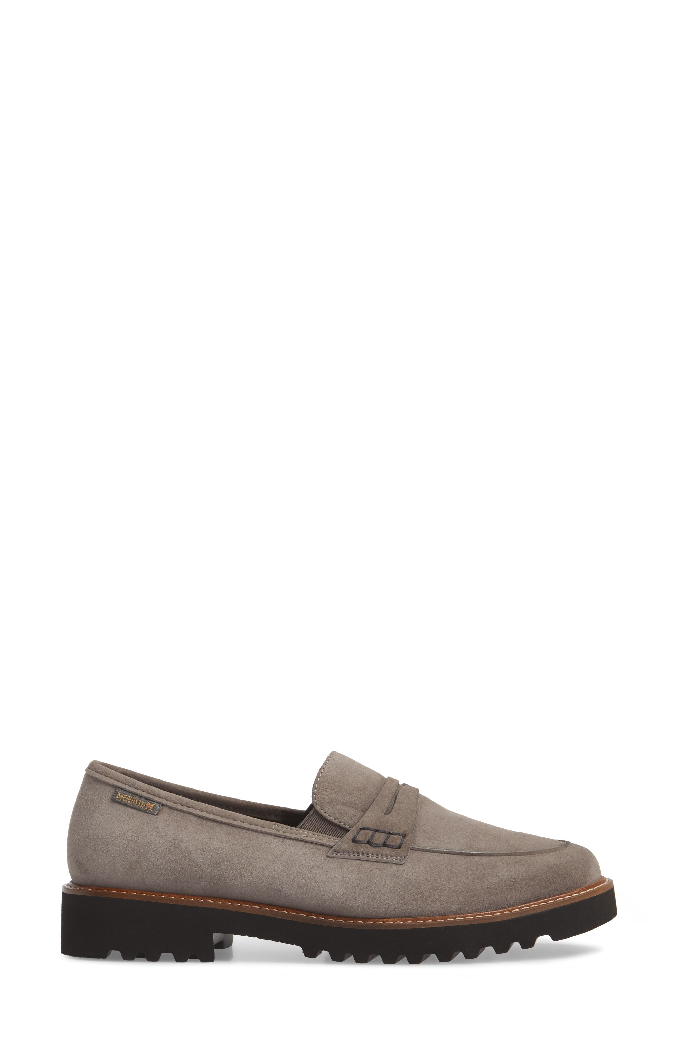 Sidney Penny Loafer,                             Alternate thumbnail 3, color,                             Grey Suede